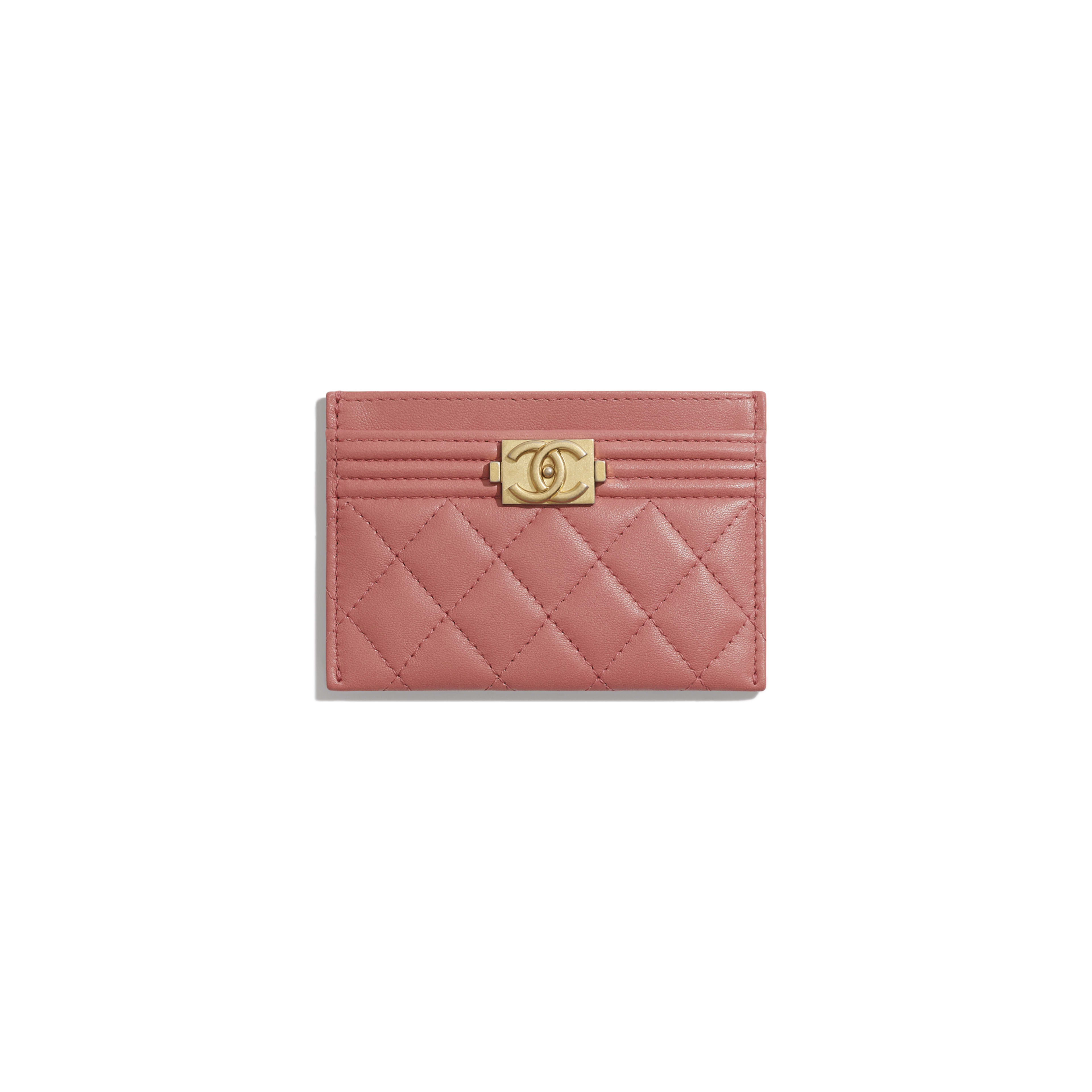 BOY CHANEL Card Holder - Pink - Lambskin - Default view - see full sized version
