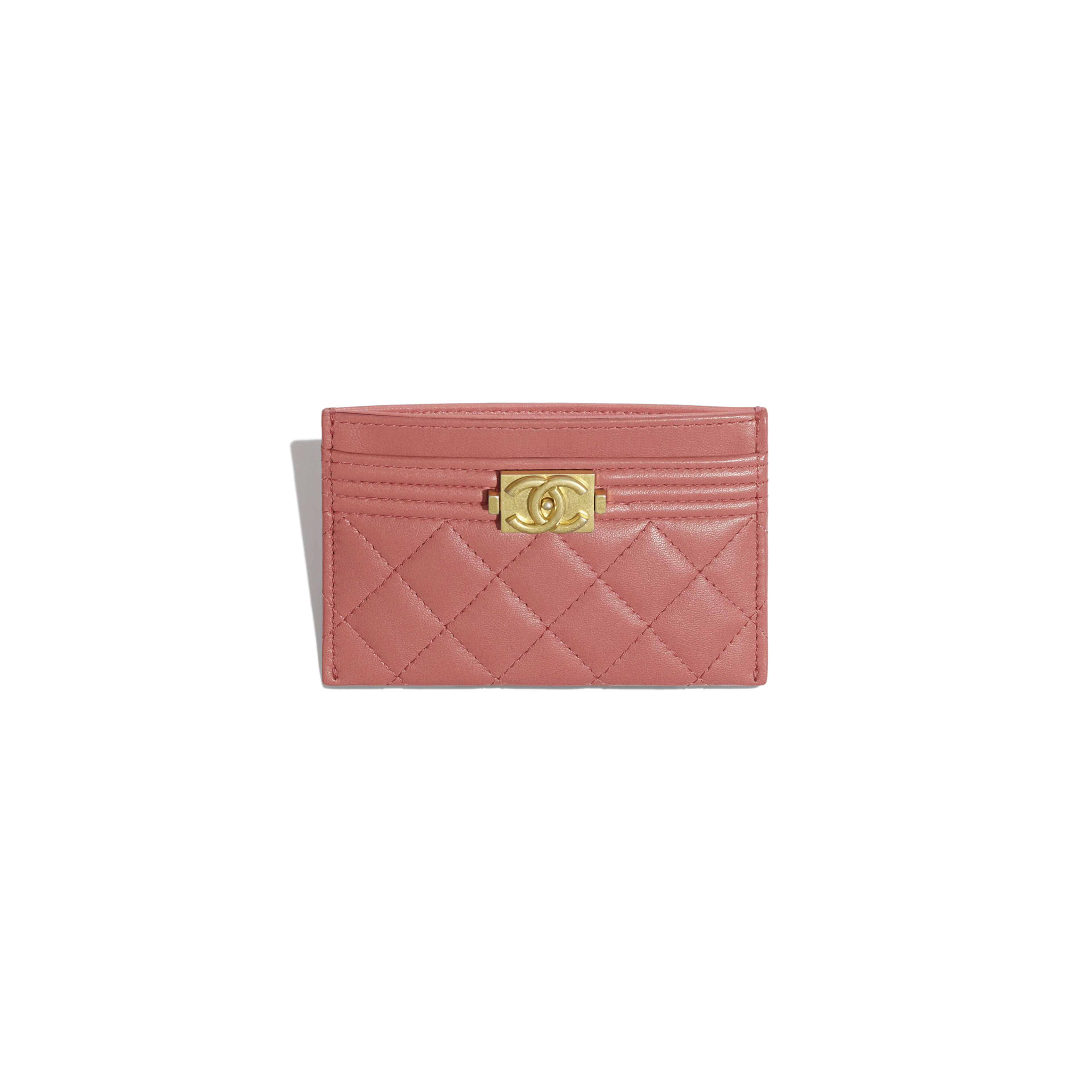 BOY CHANEL Card Holder - Pink - Lambskin - Other view - see full sized version