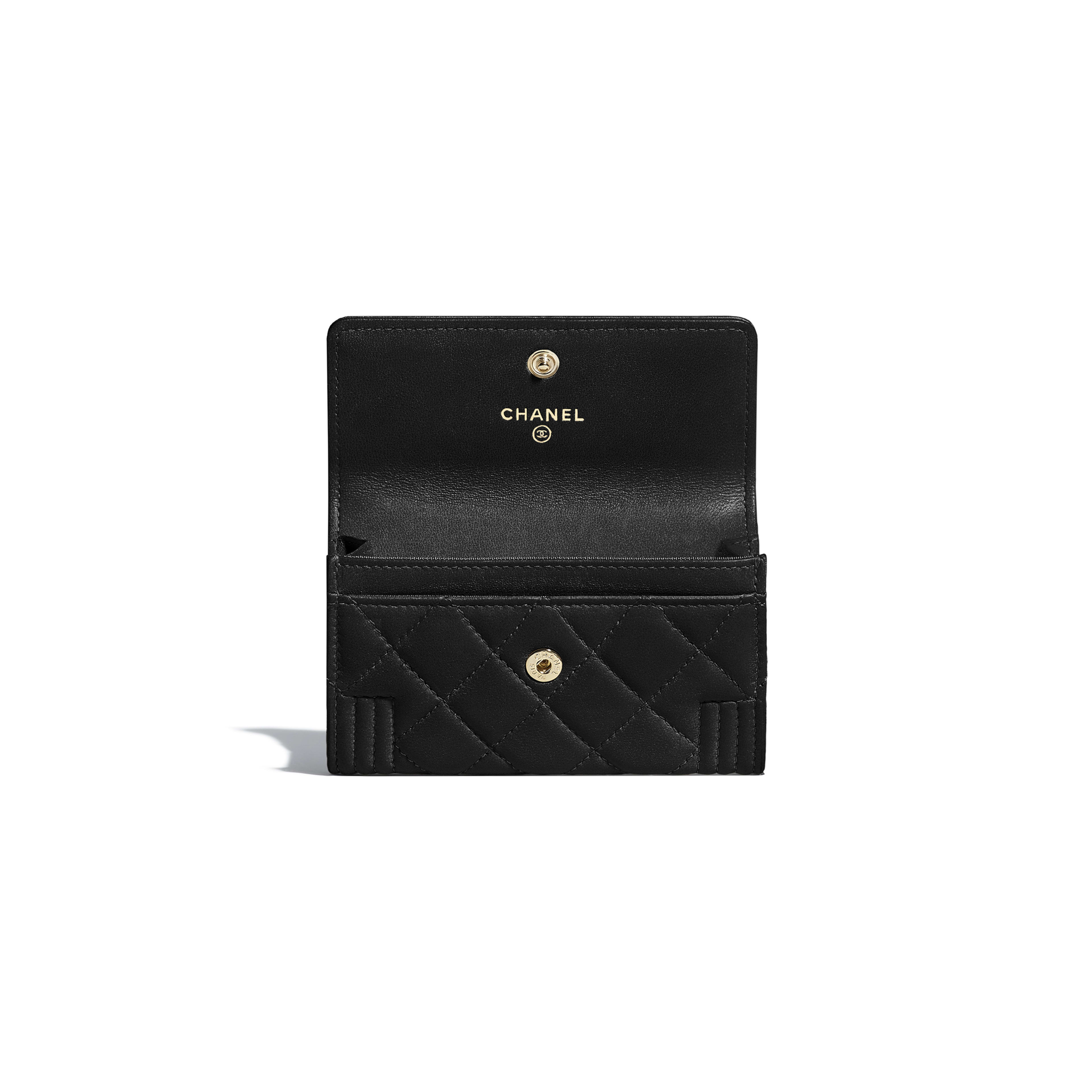 BOY CHANEL Flap Card Holder - Black - Lambskin - Other view - see full sized version