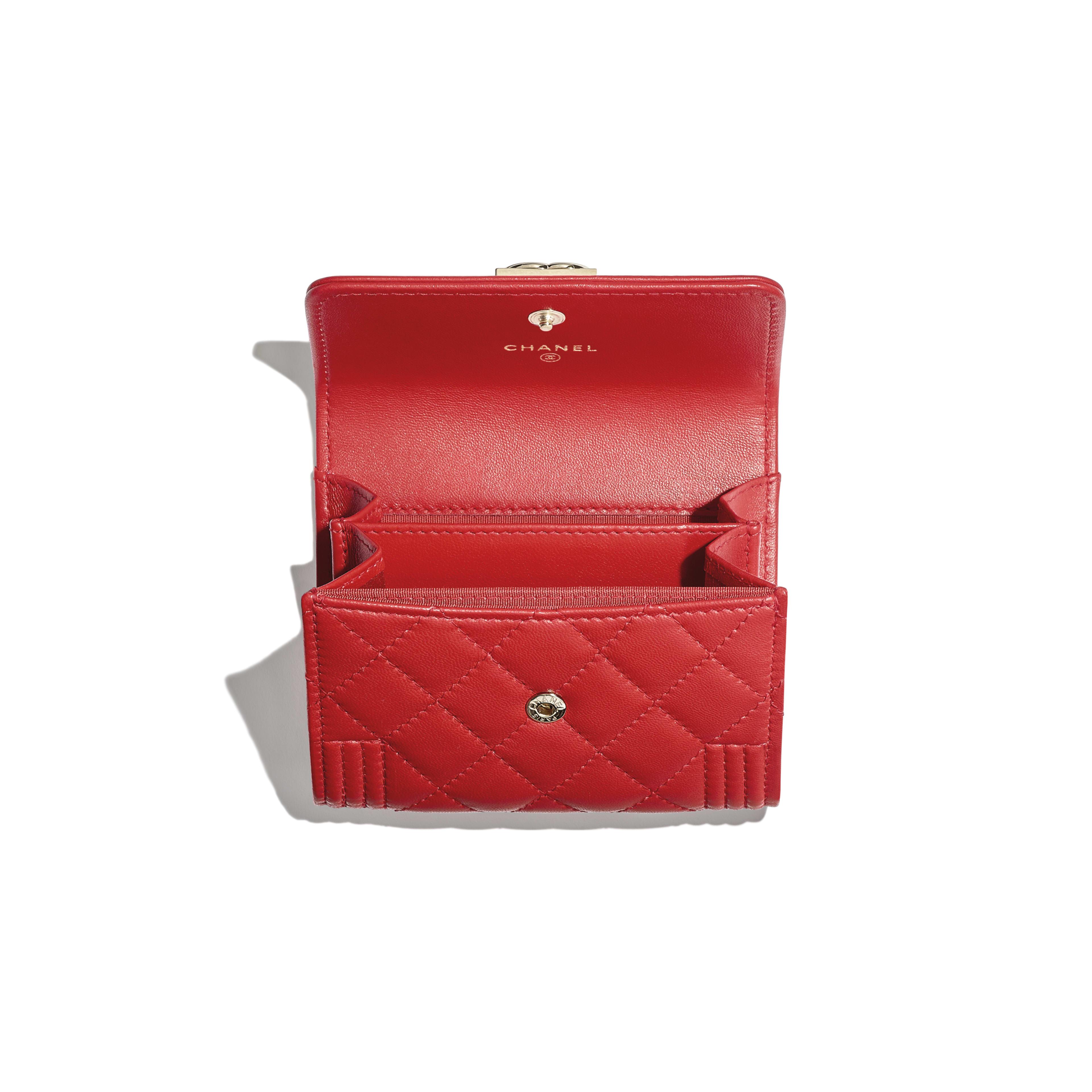 1f5c724d2a75 Lambskin Gold Tone Metal Red Boy Chanel Flap Coin Purse