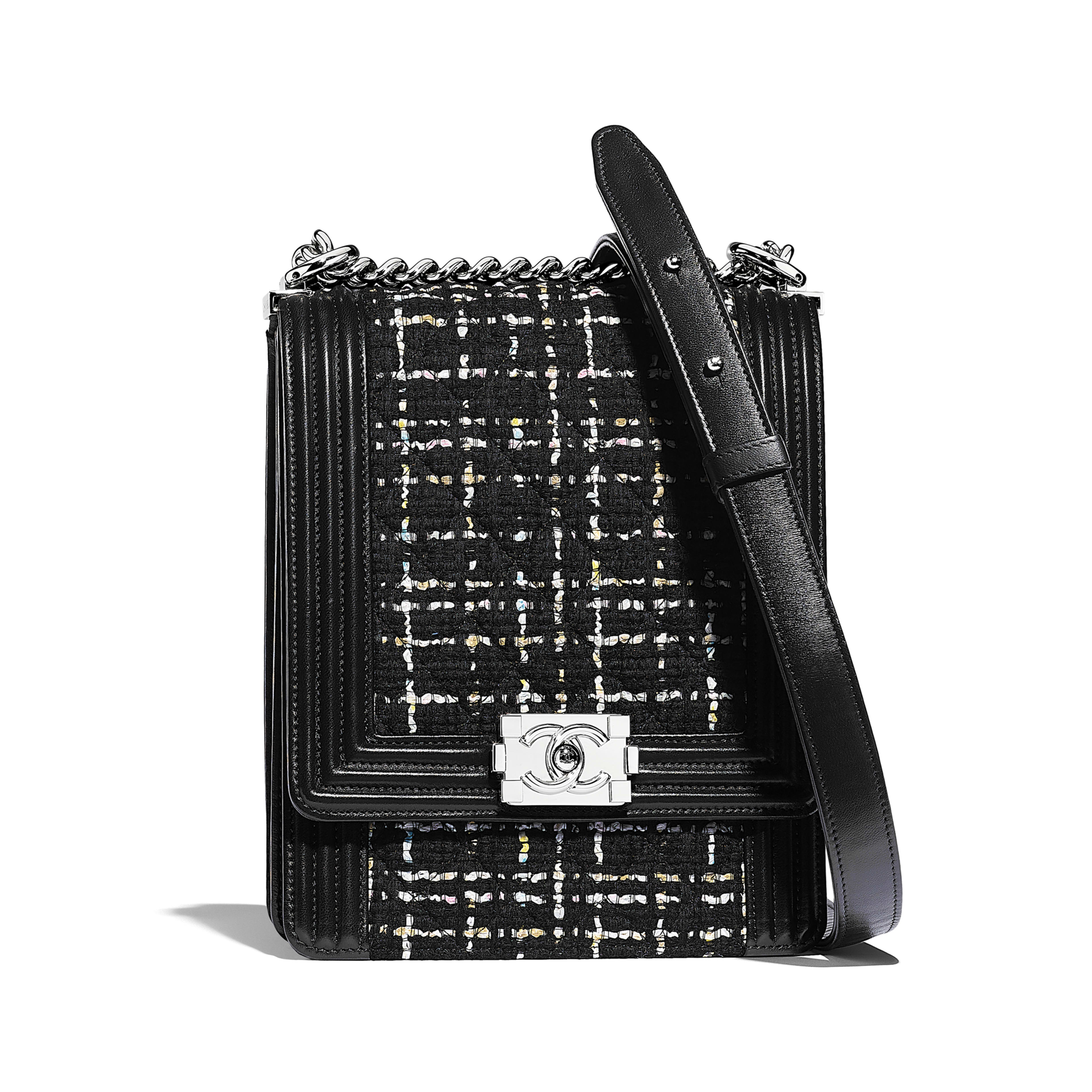 f4117096319b00 Boy Chanel Handbag Tweed Calfskin Silver Tone Metal Black