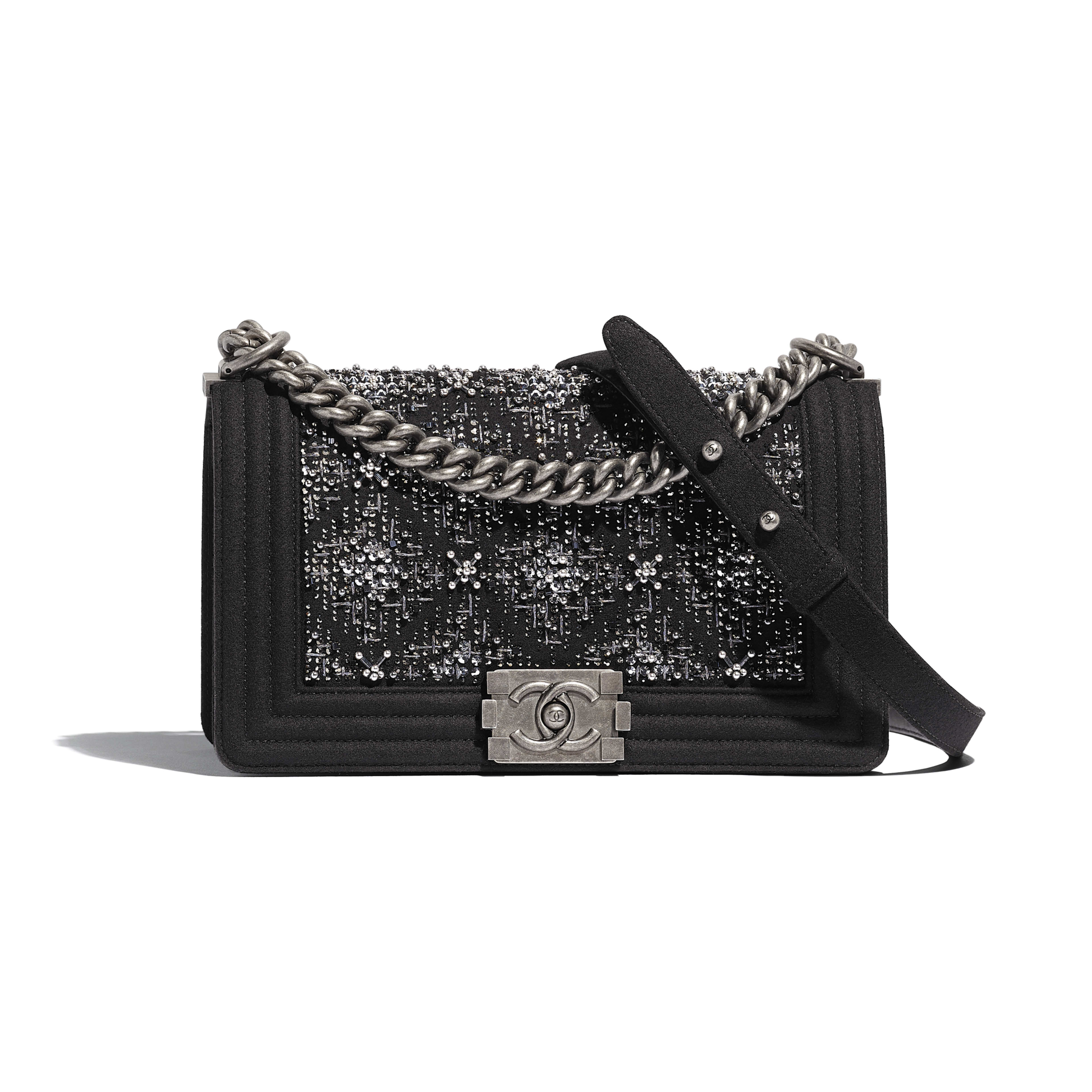 BOY CHANEL Handbag - Black - Wool, Strass & Ruthenium-Finish Metal - Default view - see full sized version
