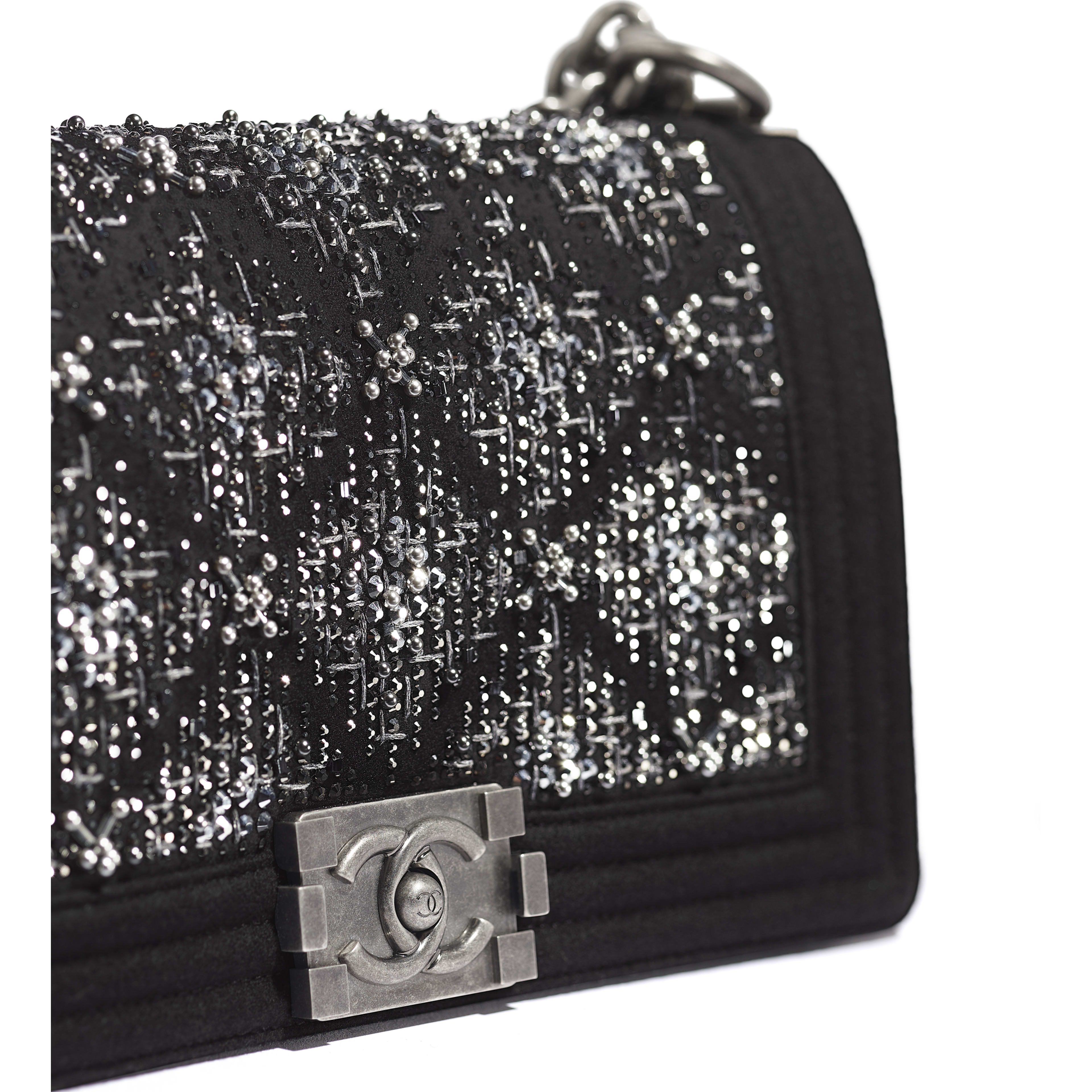 BOY CHANEL Handbag - Black - Wool, Strass & Ruthenium-Finish Metal - Extra view - see full sized version
