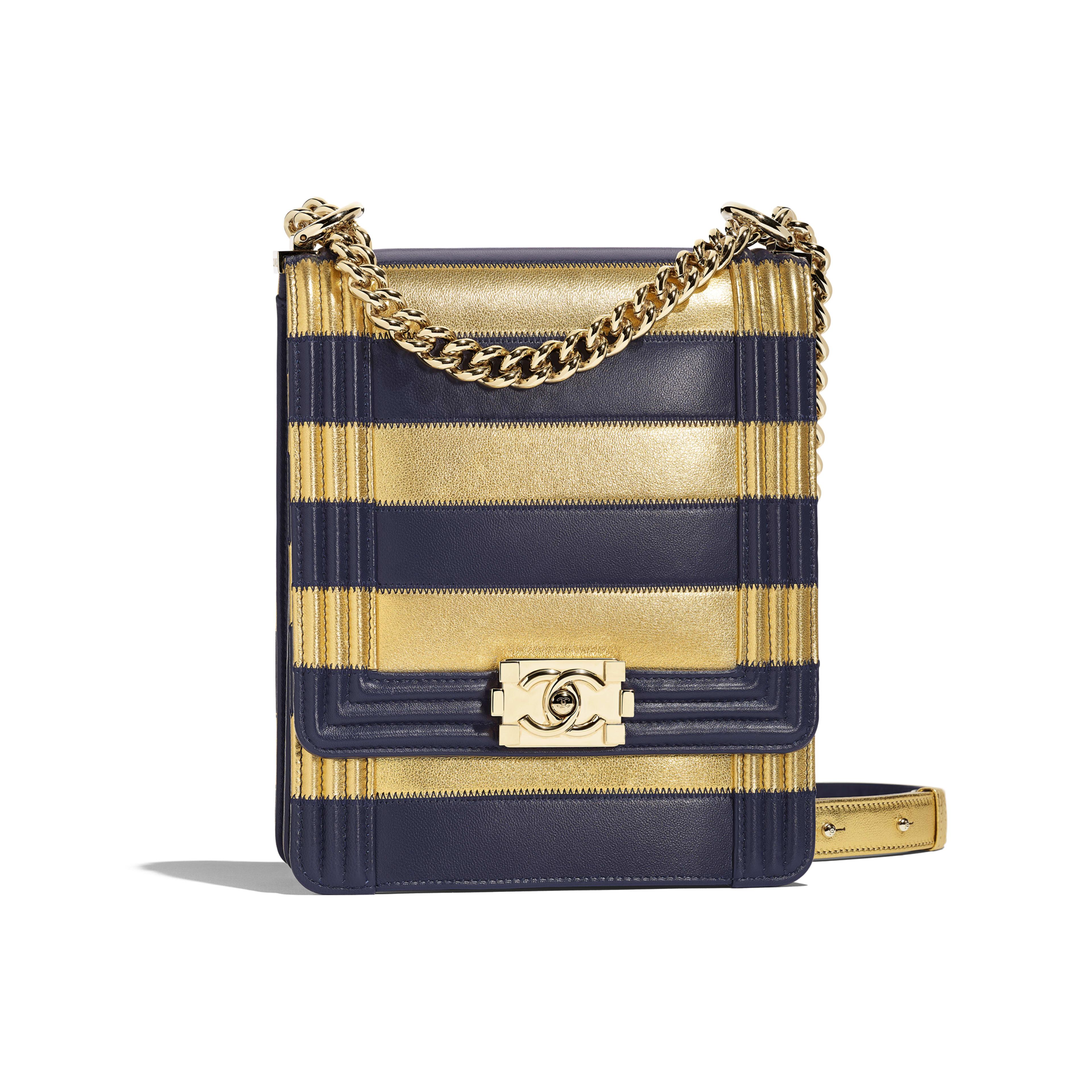 BOY CHANEL Handbag - Gold & Navy Blue - Lambskin, Calfskin & Gold-Tone Metal - Default view - see full sized version