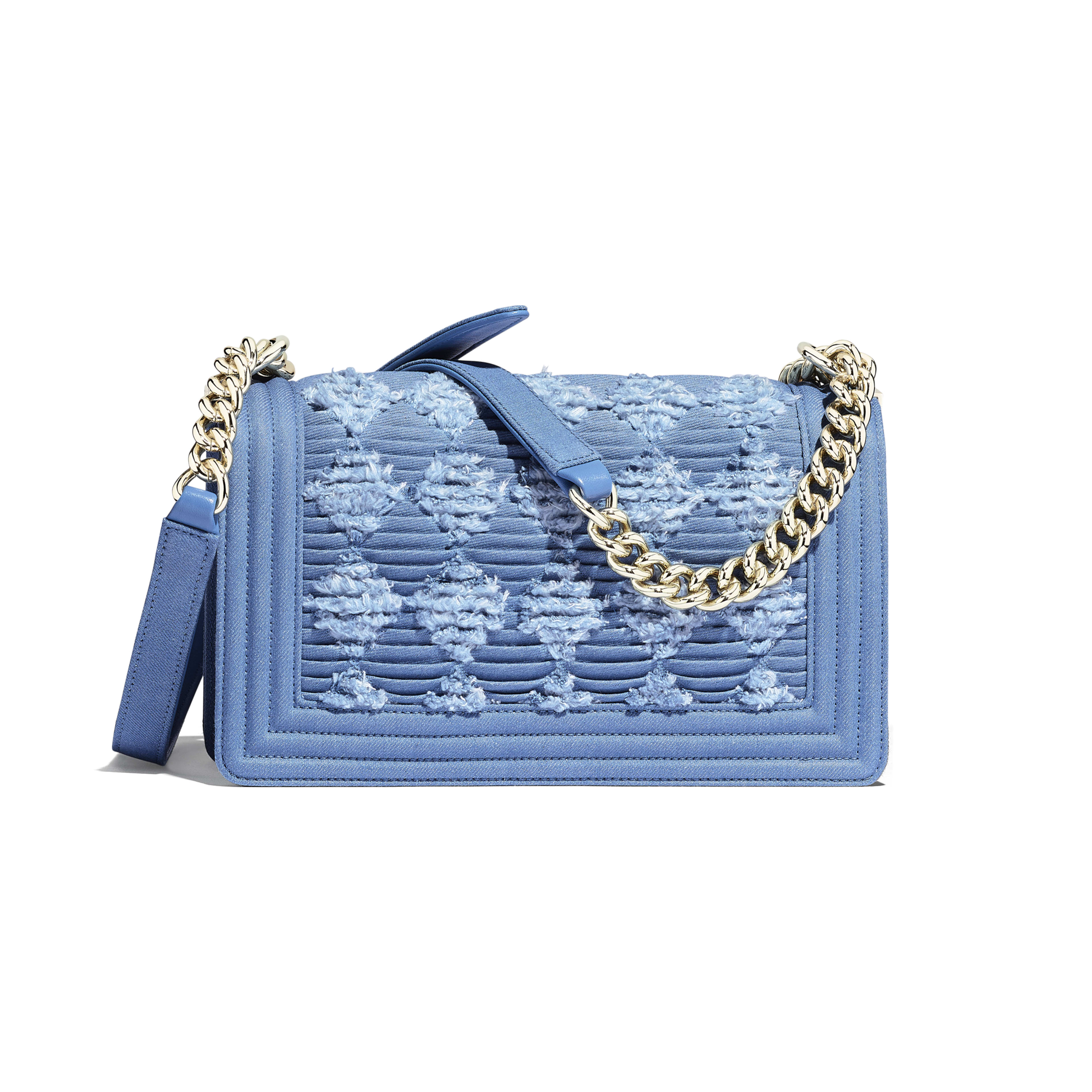 BOY CHANEL Handbag - Light Blue - Pleated Denim & Gold-Tone Metal - Alternative view - see full sized version