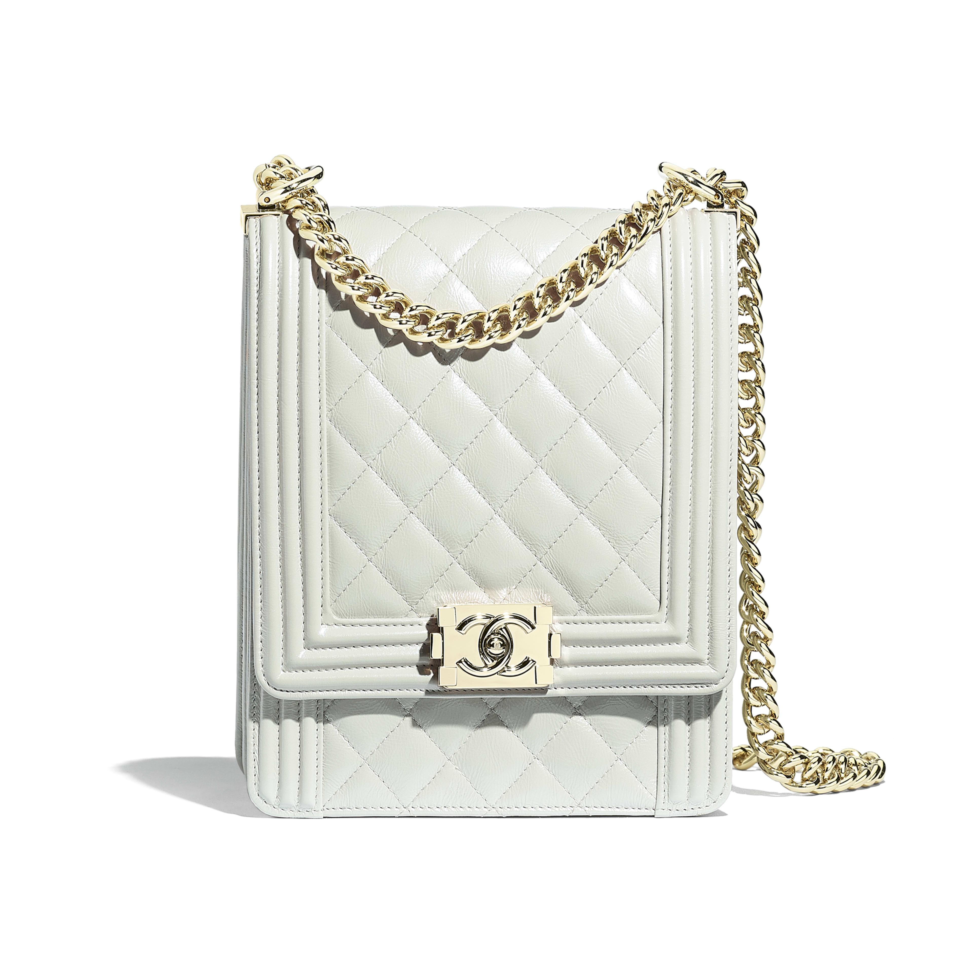 5ba46b49d059 BOY CHANEL Handbag - Light Gray - Iridescent Calfskin   Gold-Tone Metal -  Default ...
