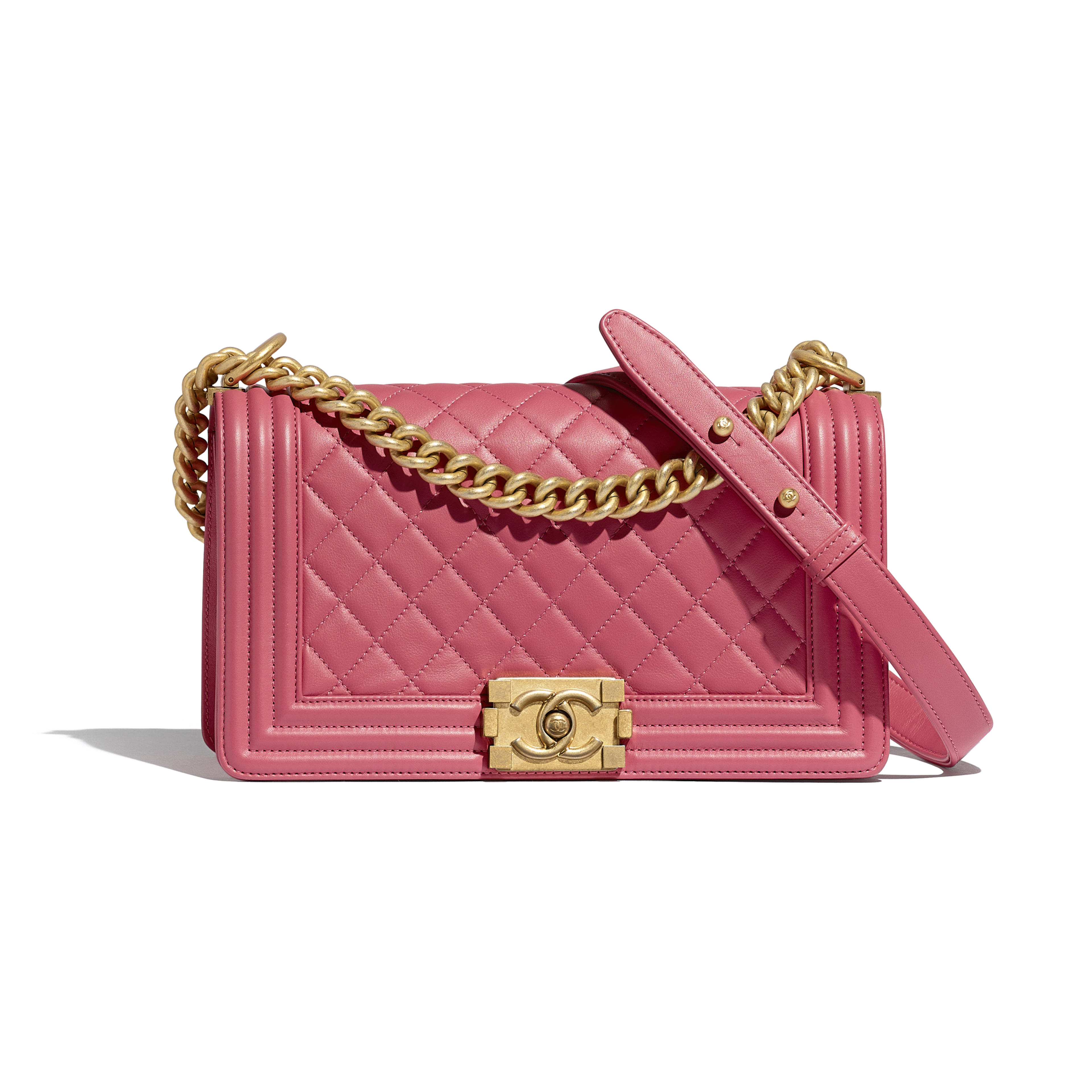 Gold Tone Metal Pink Boy Chanel Handbag