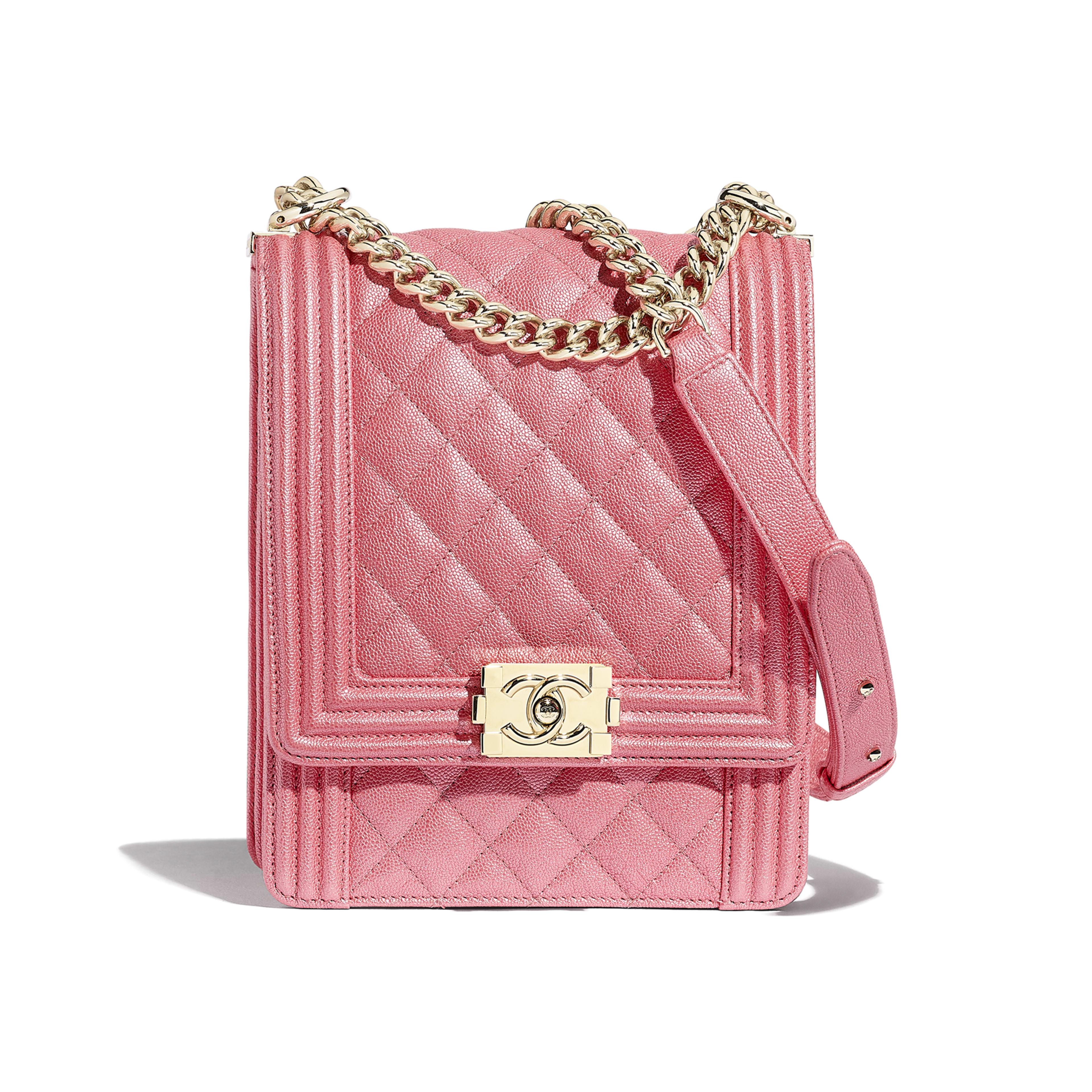 BOY CHANEL Handbag - Pink - Metallic Grained Calfskin & Gold-Tone Metal - Default view - see full sized version