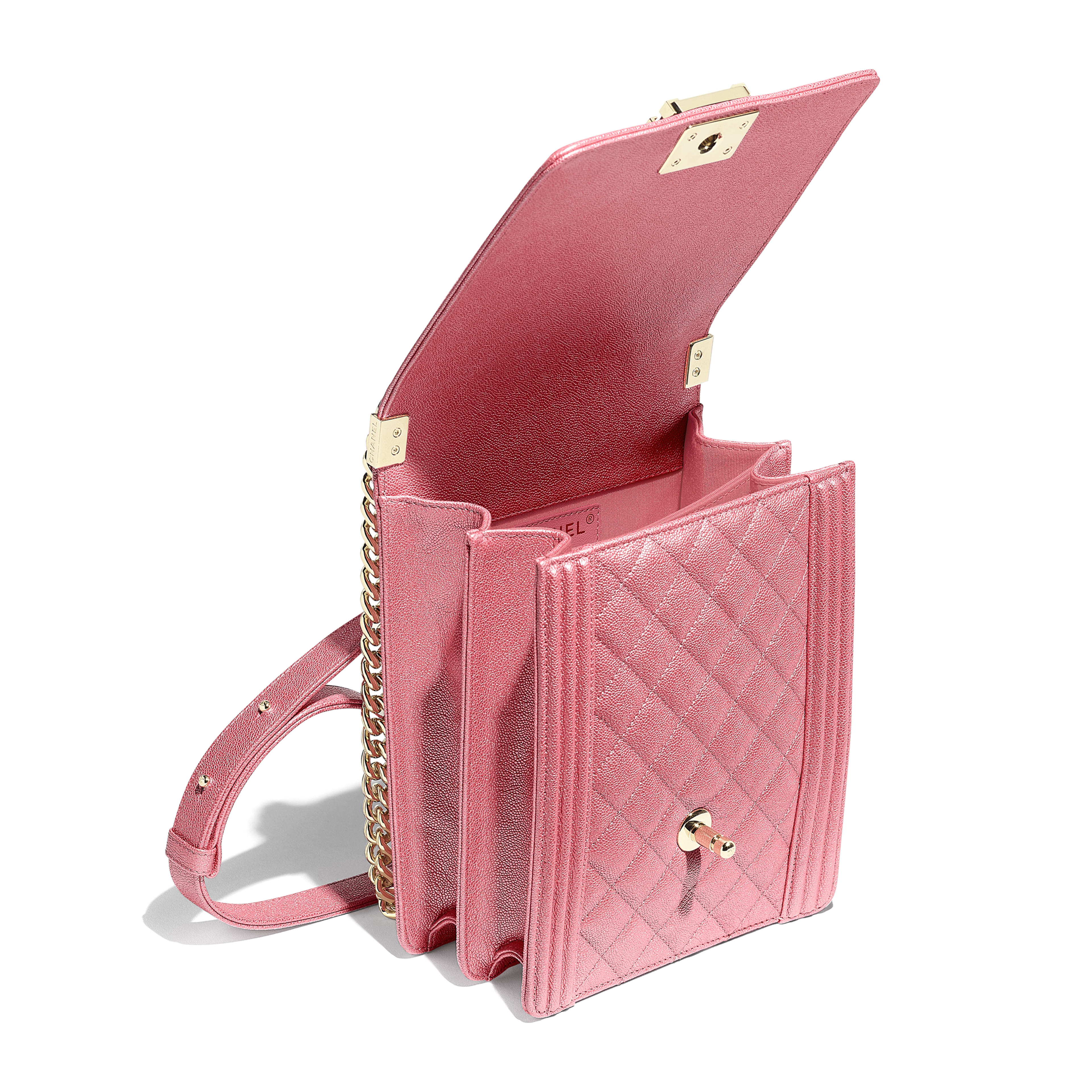 BOY CHANEL Handbag - Pink - Metallic Grained Calfskin & Gold-Tone Metal - Other view - see full sized version