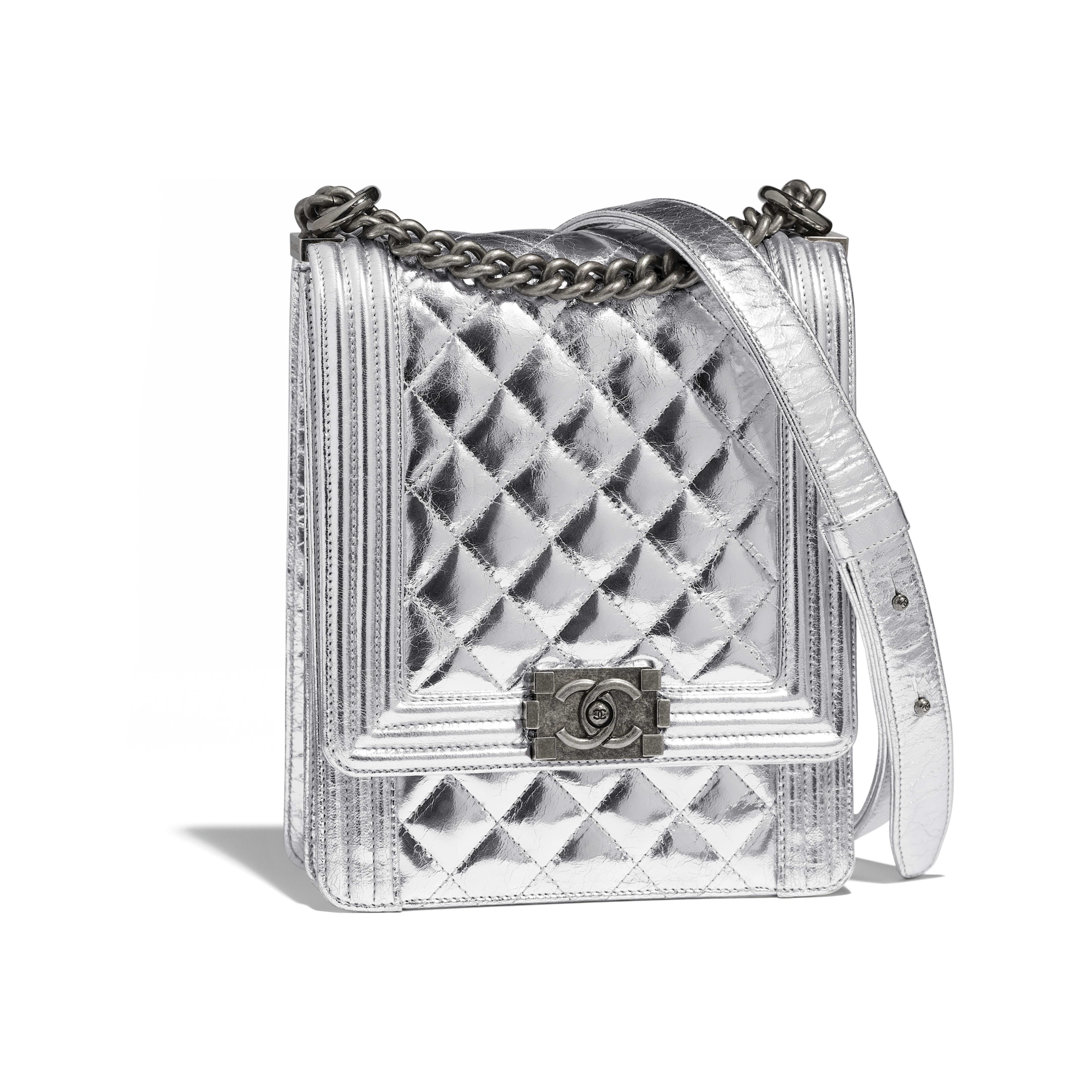 4e0770d5501d BOY CHANEL Handbag - Silver - Goatskin   Ruthenium-Finish Metal - Default  view ...