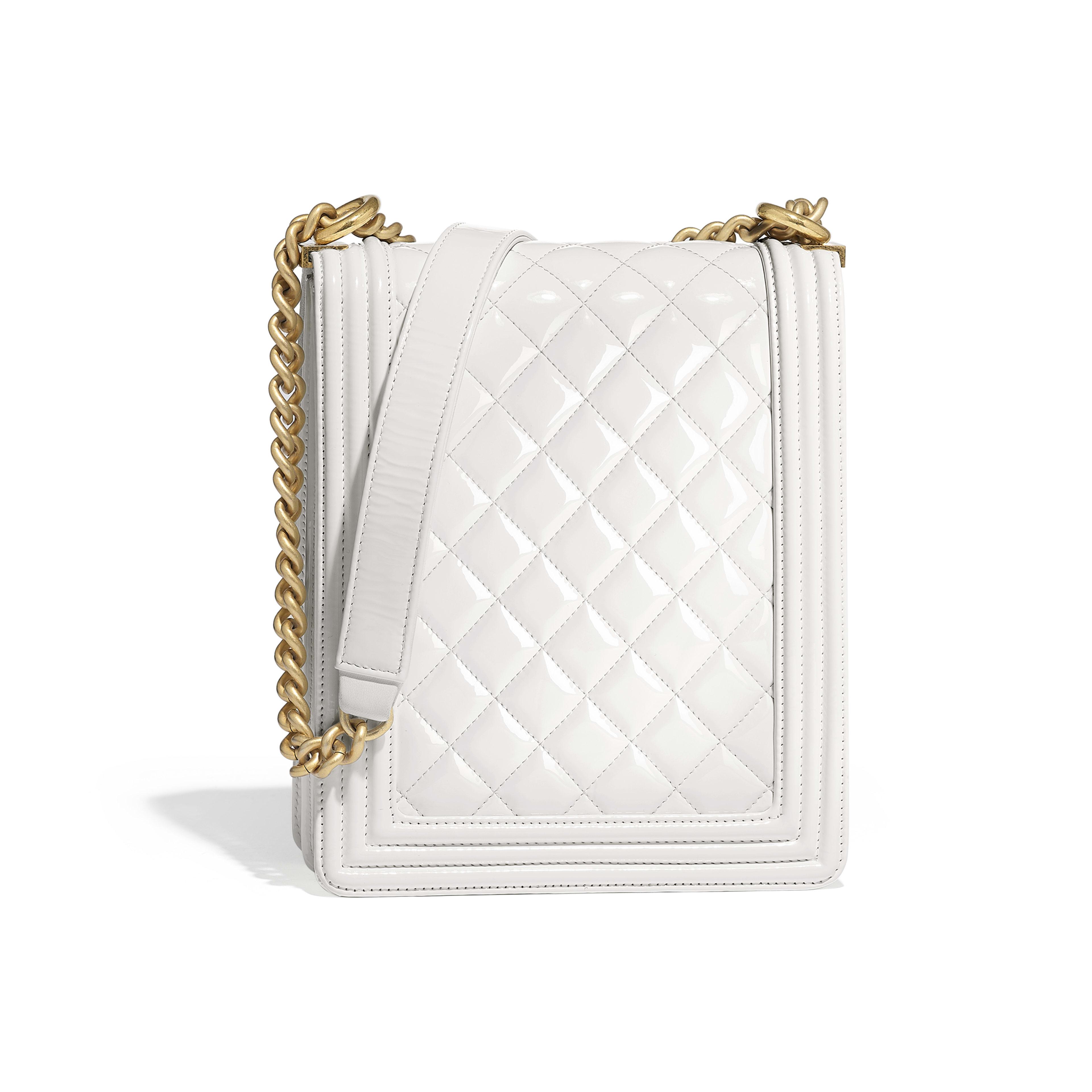 BOY CHANEL Handbag - White - Patent Calfskin & Gold-Tone Metal - Alternative view - see full sized version