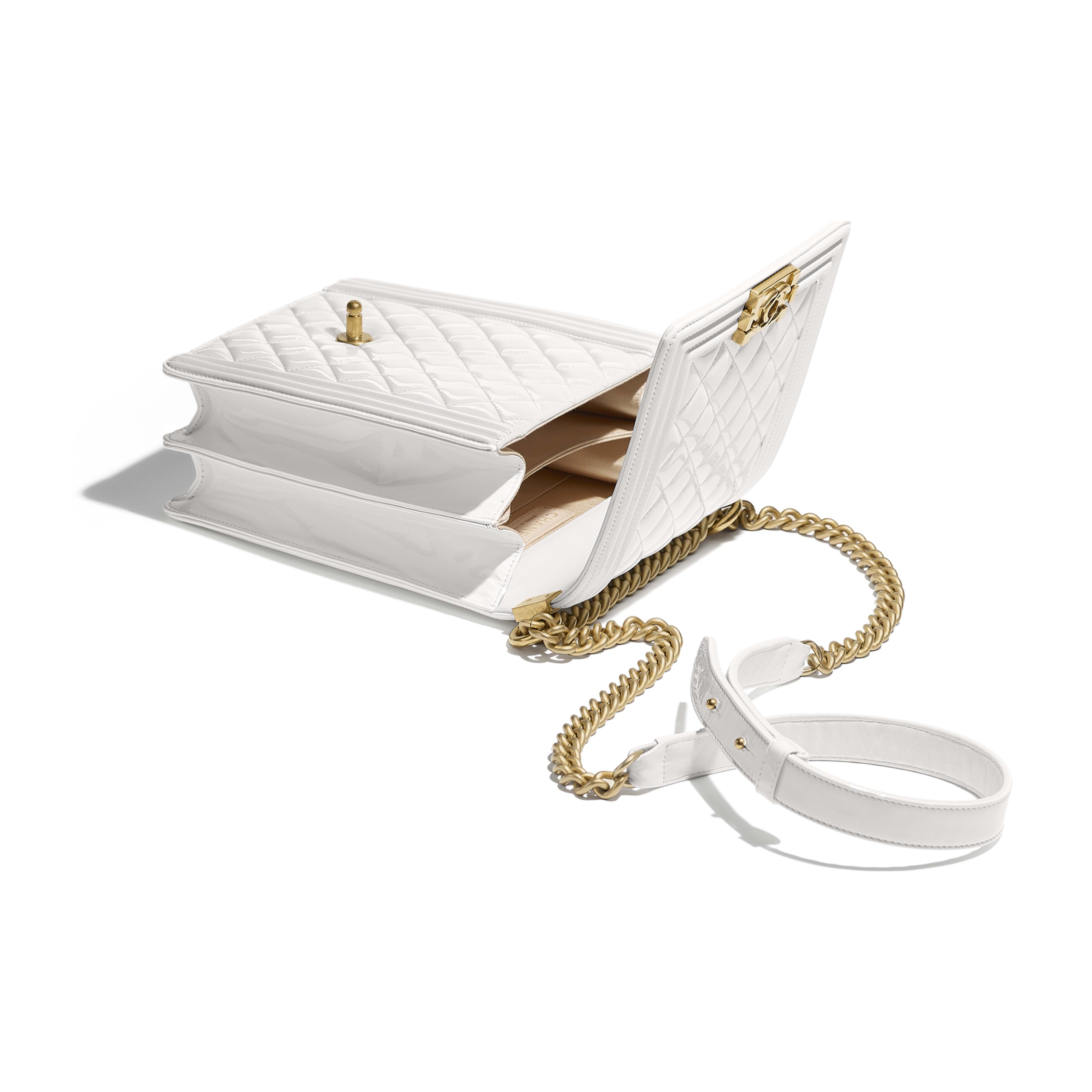 BOY CHANEL Handbag - White - Patent Calfskin & Gold-Tone Metal - Other view - see full sized version