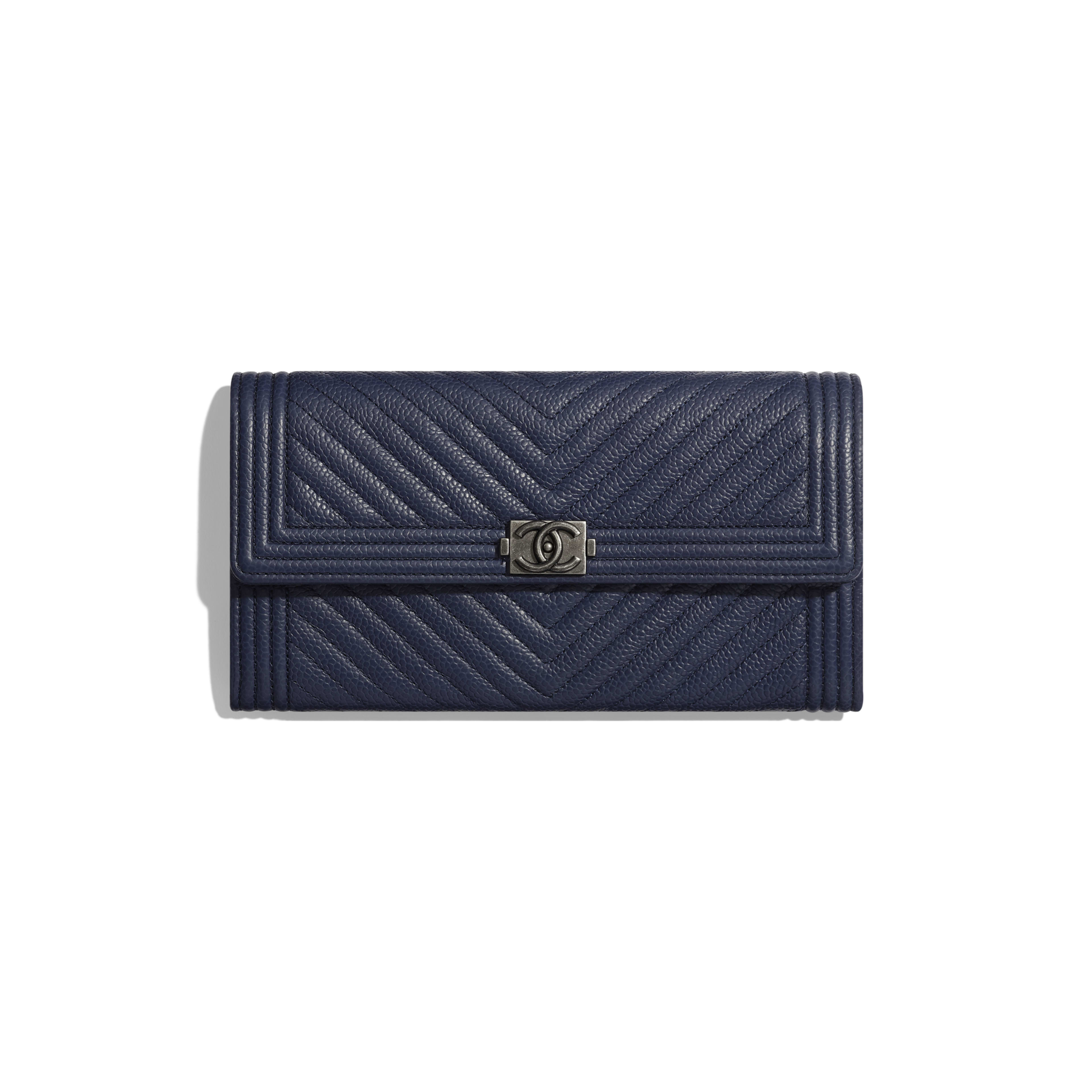 BOY CHANEL Long Flap Wallet - Navy Blue - Grained Calfskin & Ruthenium-Finish Metal - Default view - see full sized version