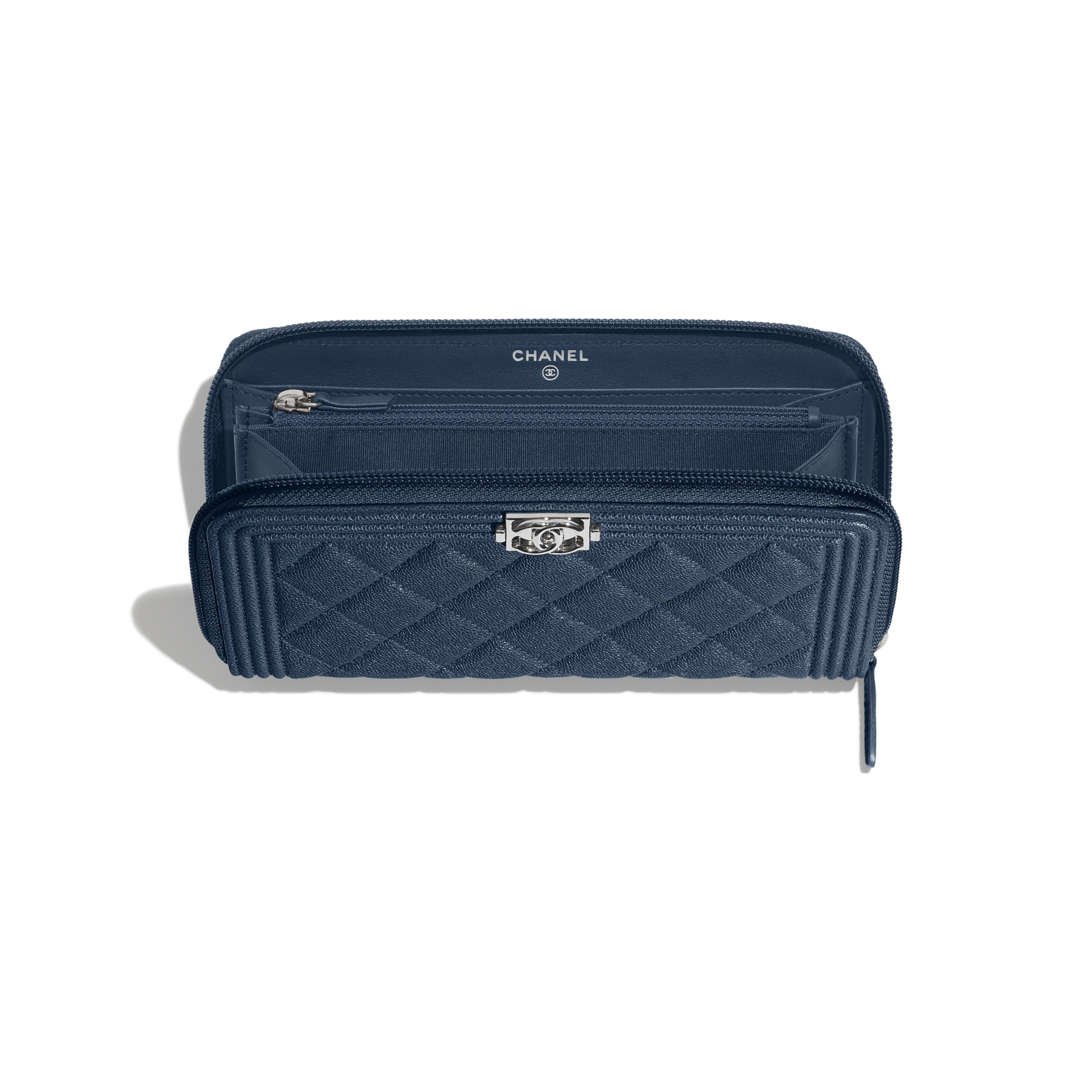 BOY CHANEL Long Zipped Wallet - Blue - Grained Calfskin & Silver Metal - Other view - see full sized version