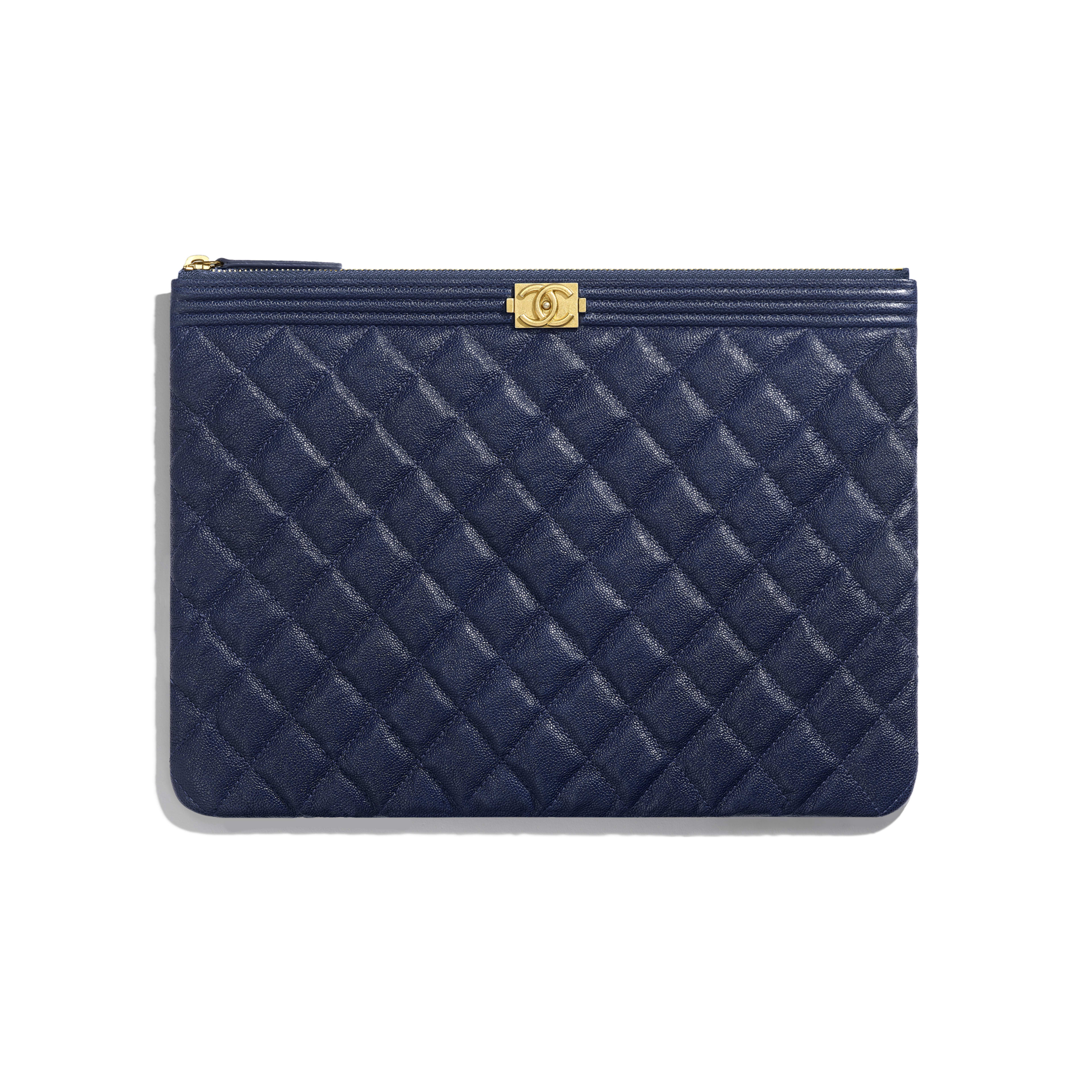 6b89c8f245a7 BOY CHANEL Pouch - Blue - Grained Calfskin & Gold-Tone Metal - Default view  ...