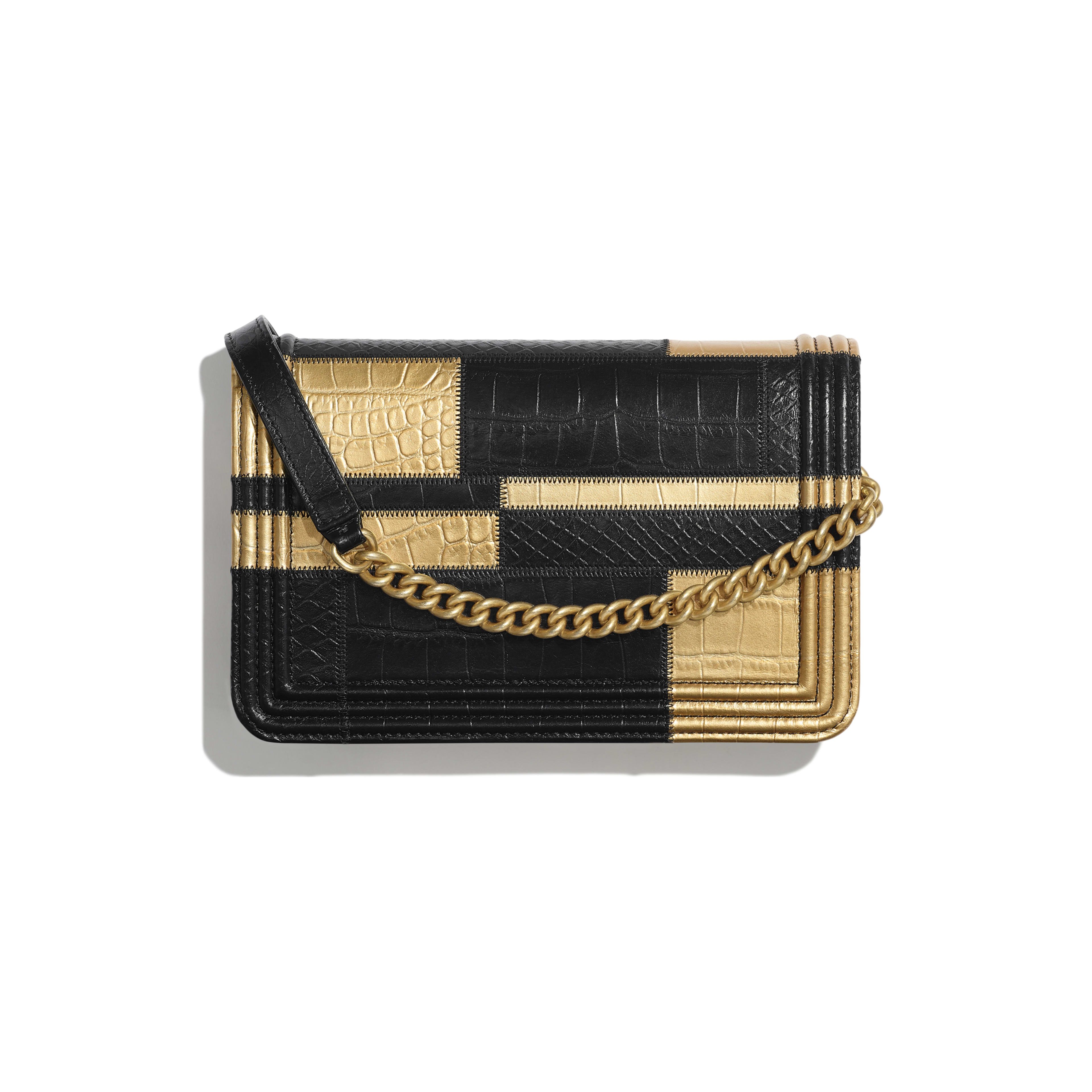 BOY CHANEL Wallet on Chain - Black & Gold - Crocodile Embossed Calfskin, Python Embossed Calfskin & Gold-Tone Metal - Alternative view - see full sized version