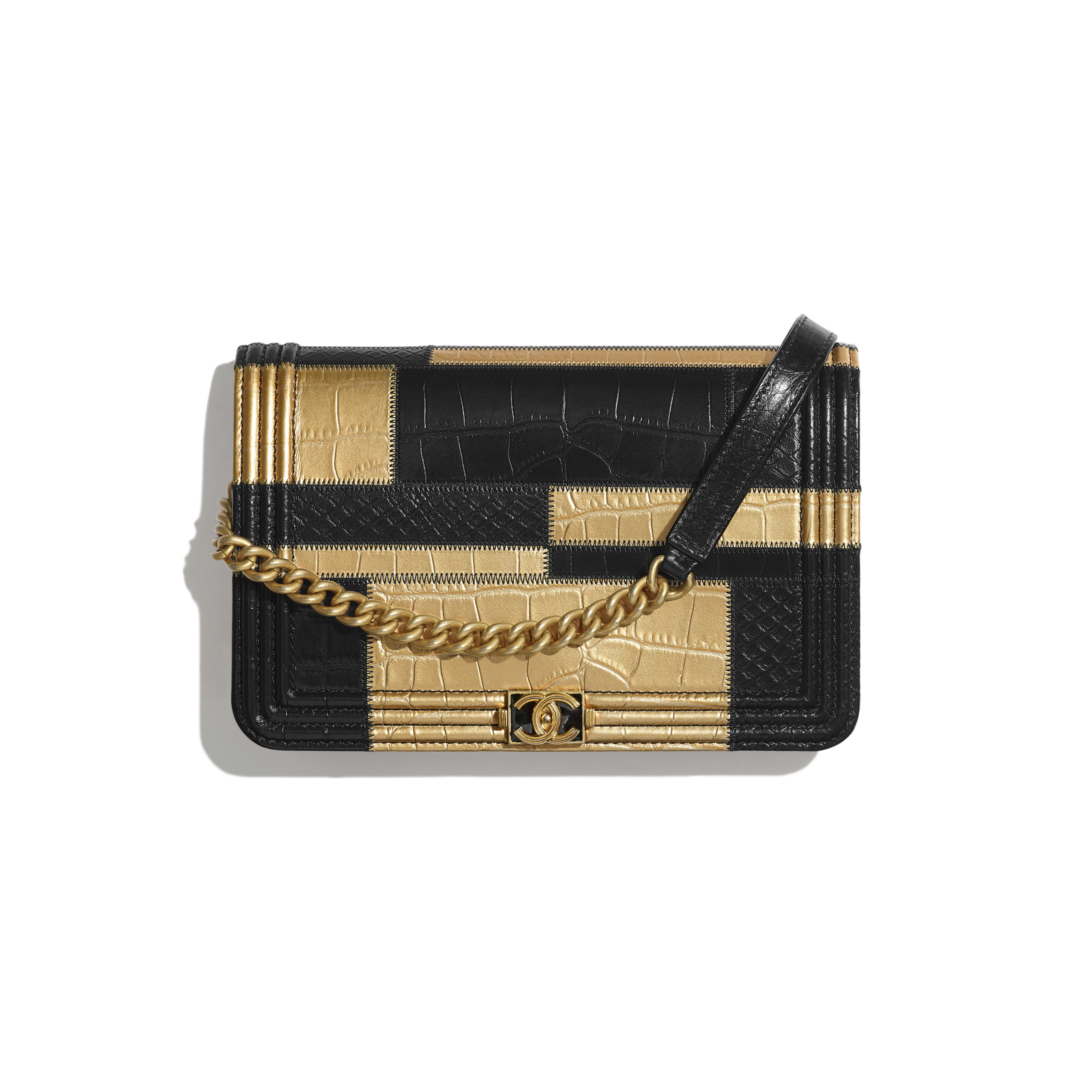 BOY CHANEL Wallet on Chain - Black & Gold - Crocodile Embossed Calfskin, Python Embossed Calfskin & Gold-Tone Metal - Default view - see full sized version