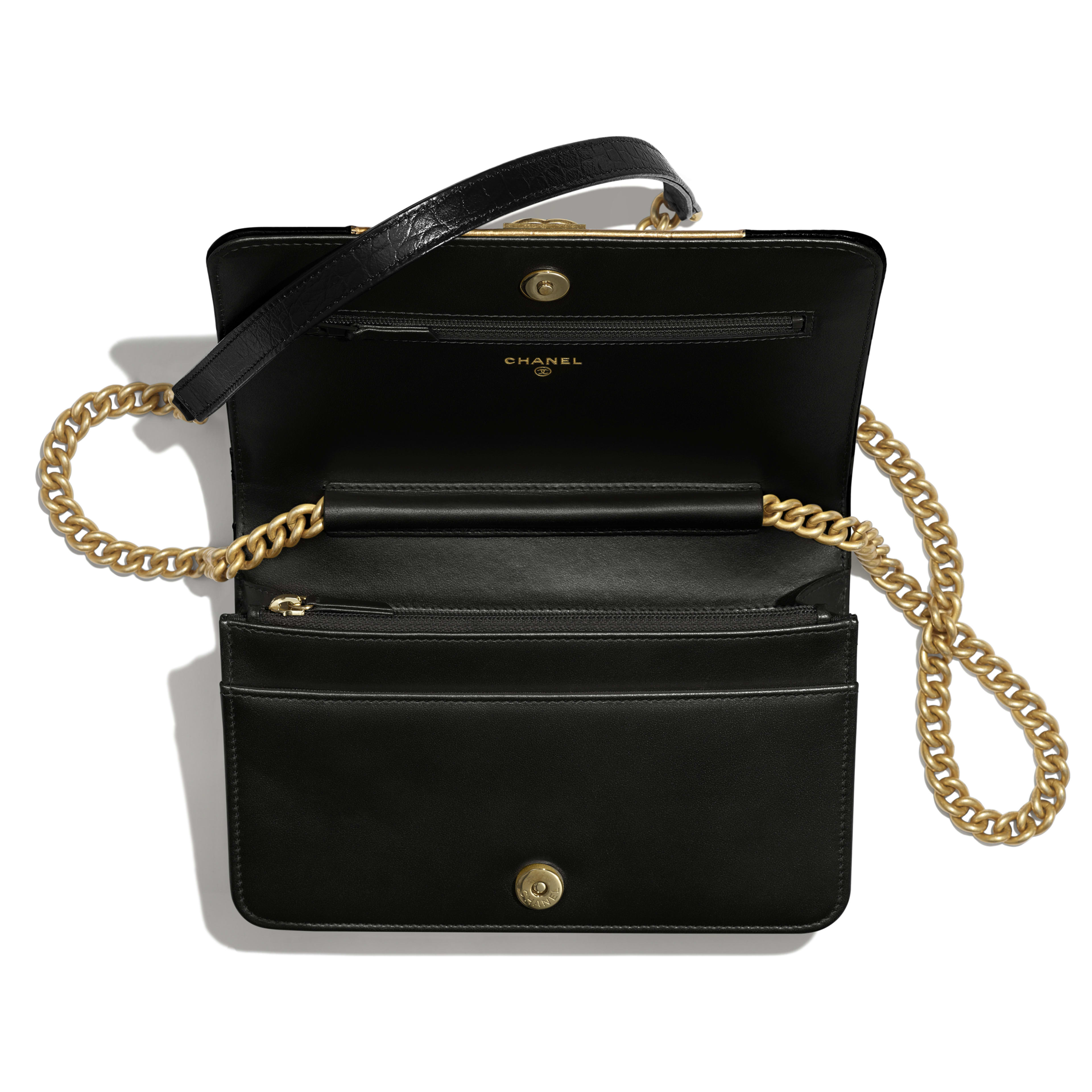 BOY CHANEL Wallet on Chain - Black & Gold - Crocodile Embossed Calfskin, Python Embossed Calfskin & Gold-Tone Metal - Other view - see full sized version
