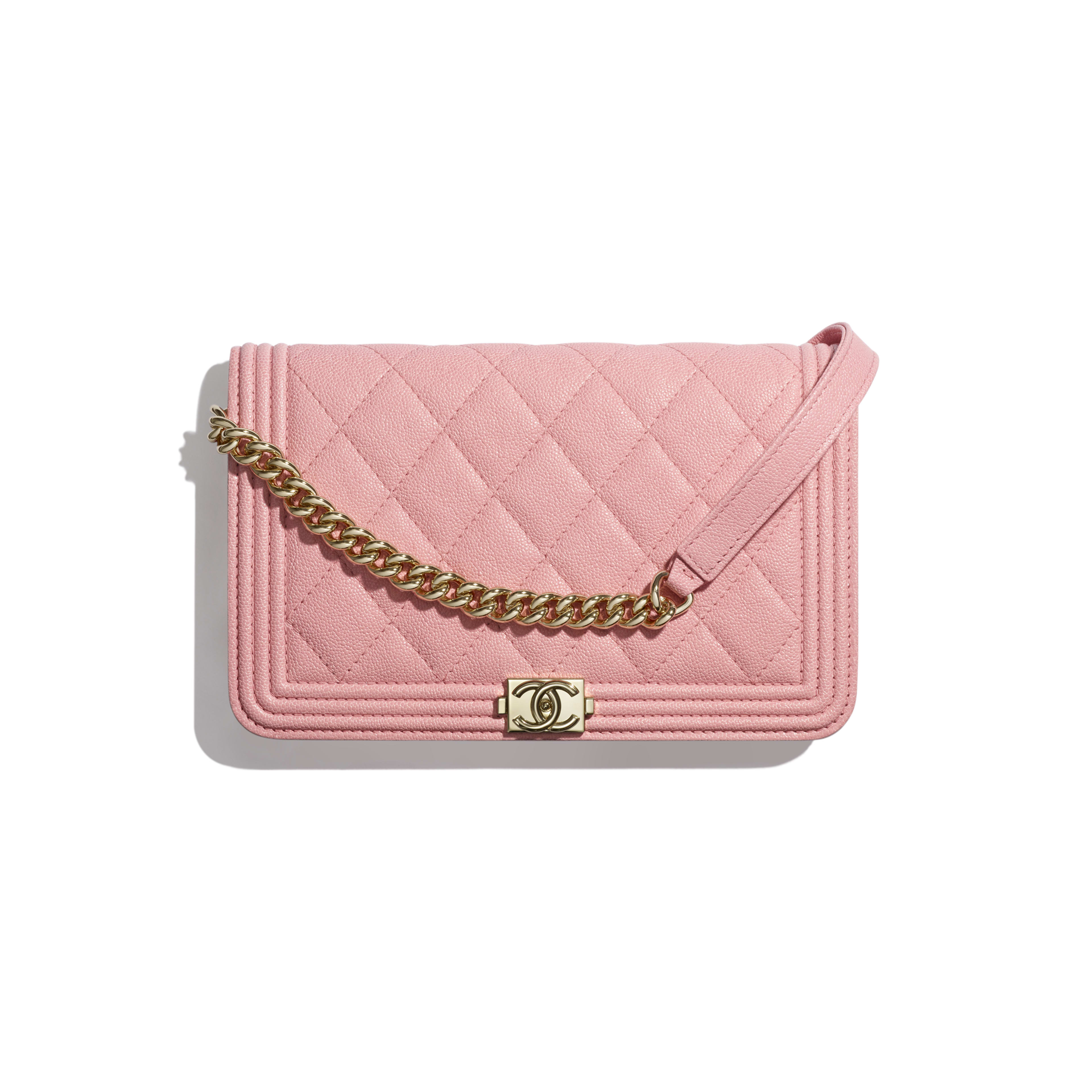 9a9583fa9e5b BOY CHANEL Wallet on Chain - Pink - Grained Calfskin   Gold-Tone Metal ...
