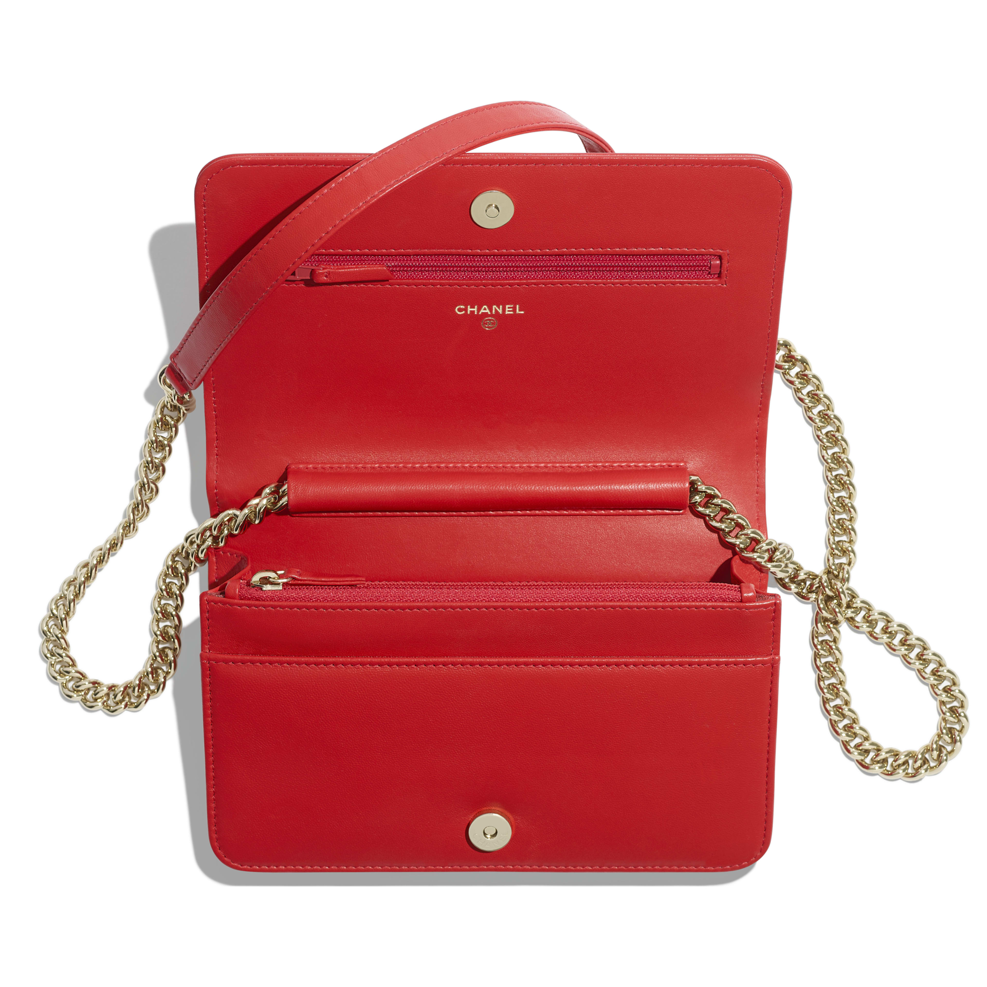5d617adccdbd BOY CHANEL Wallet on Chain - Red - Lambskin   Gold-Tone Metal - Other ...