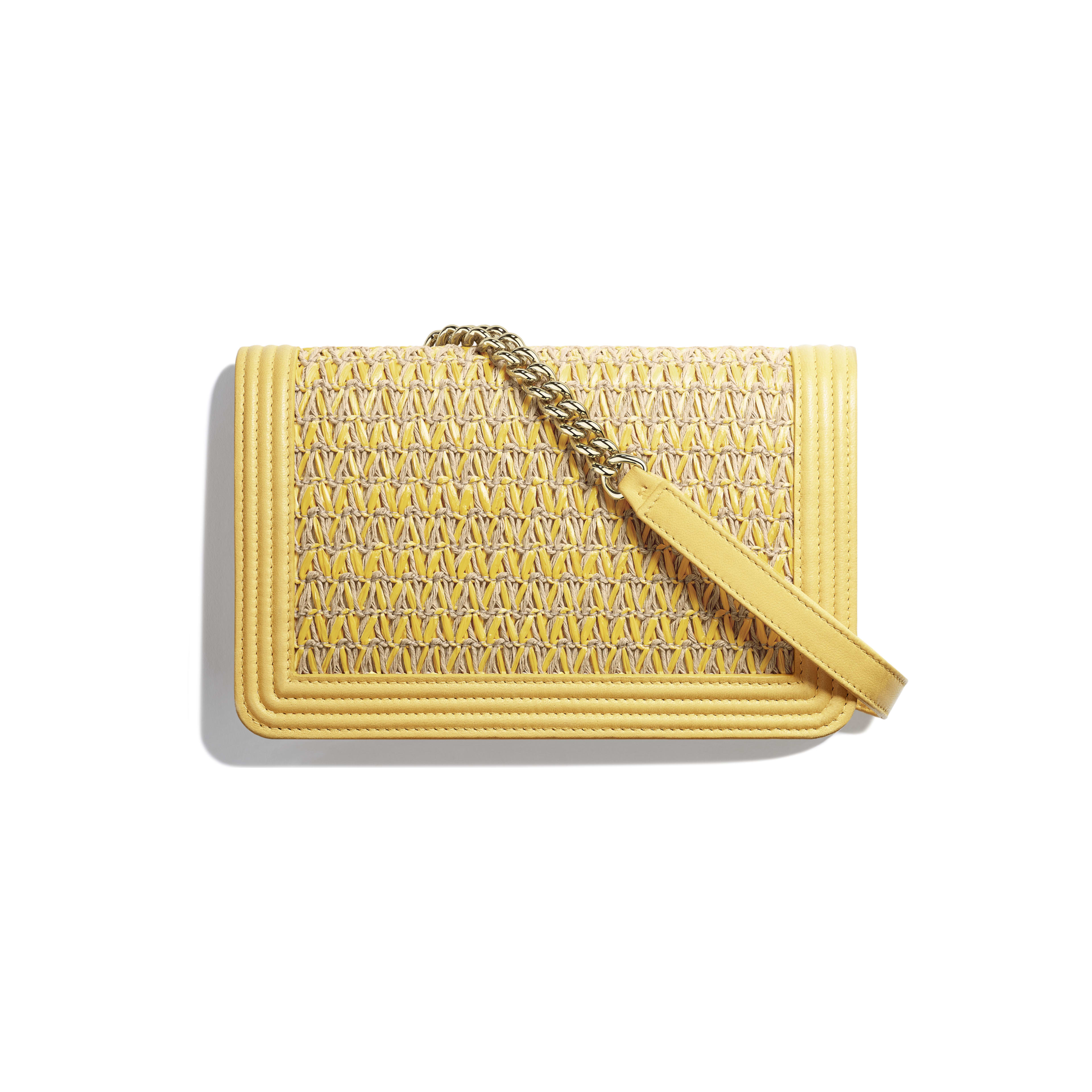 BOY CHANEL Wallet on Chain - Yellow & Beige - Cotton, Lambskin & Gold-Tone Metal - Alternative view - see full sized version