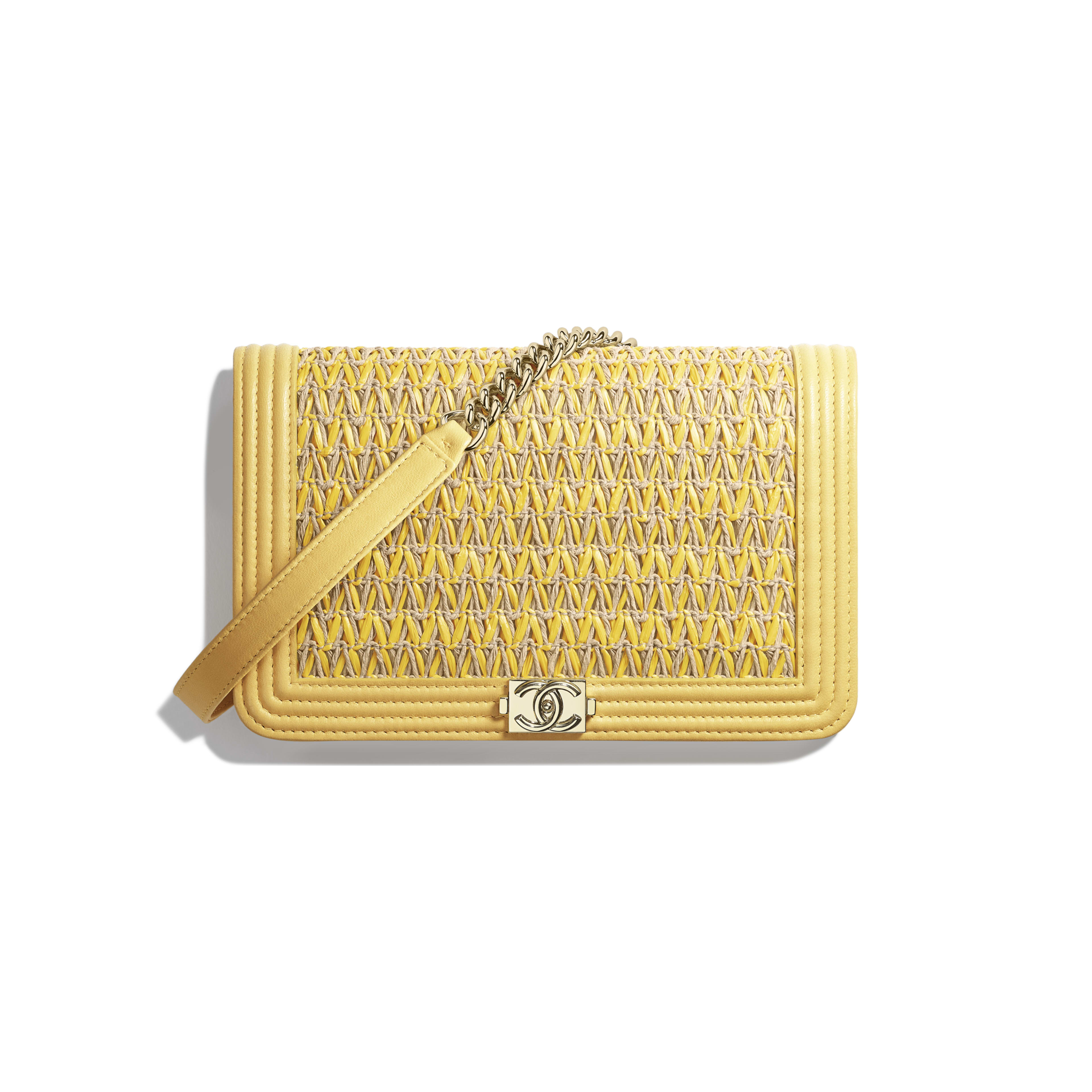 BOY CHANEL Wallet on Chain - Yellow & Beige - Cotton, Lambskin & Gold-Tone Metal - Default view - see full sized version