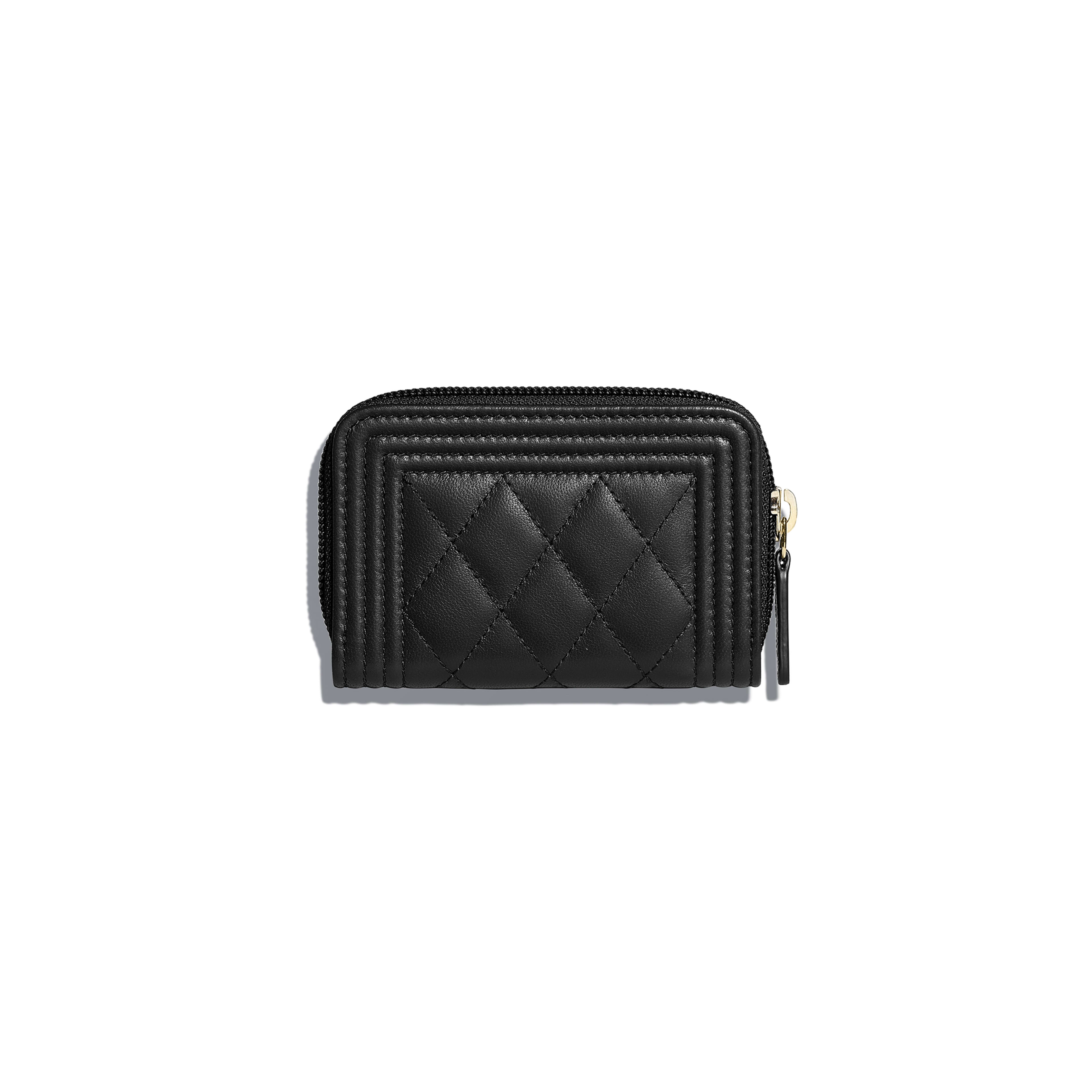 996a42983d Lambskin & Gold-Tone Metal Black BOY CHANEL Zipped Coin Purse | CHANEL