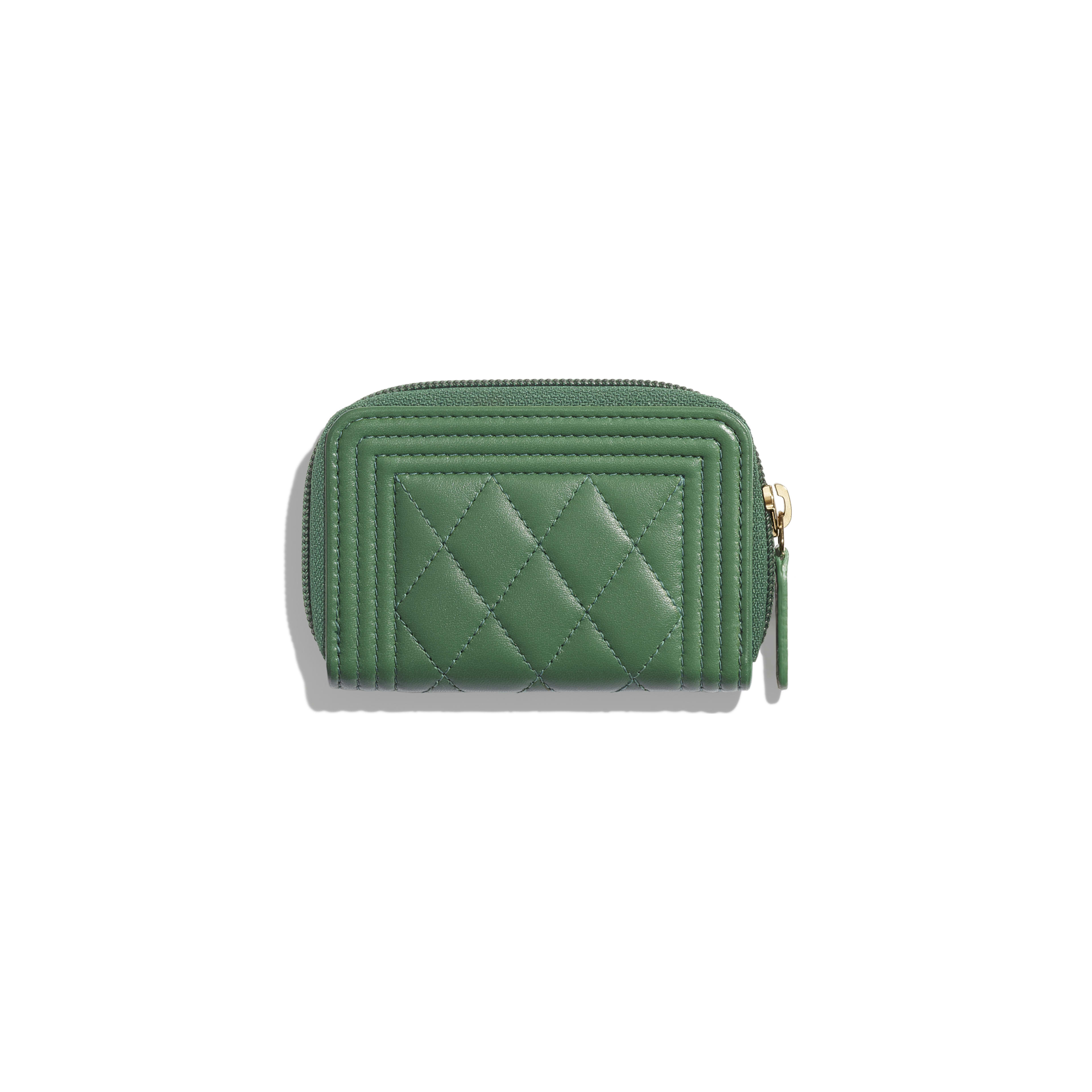 unbeatable price full range of specifications best collection Lambskin & Gold-Tone Metal Green BOY CHANEL Zipped Coin Purse | CHANEL
