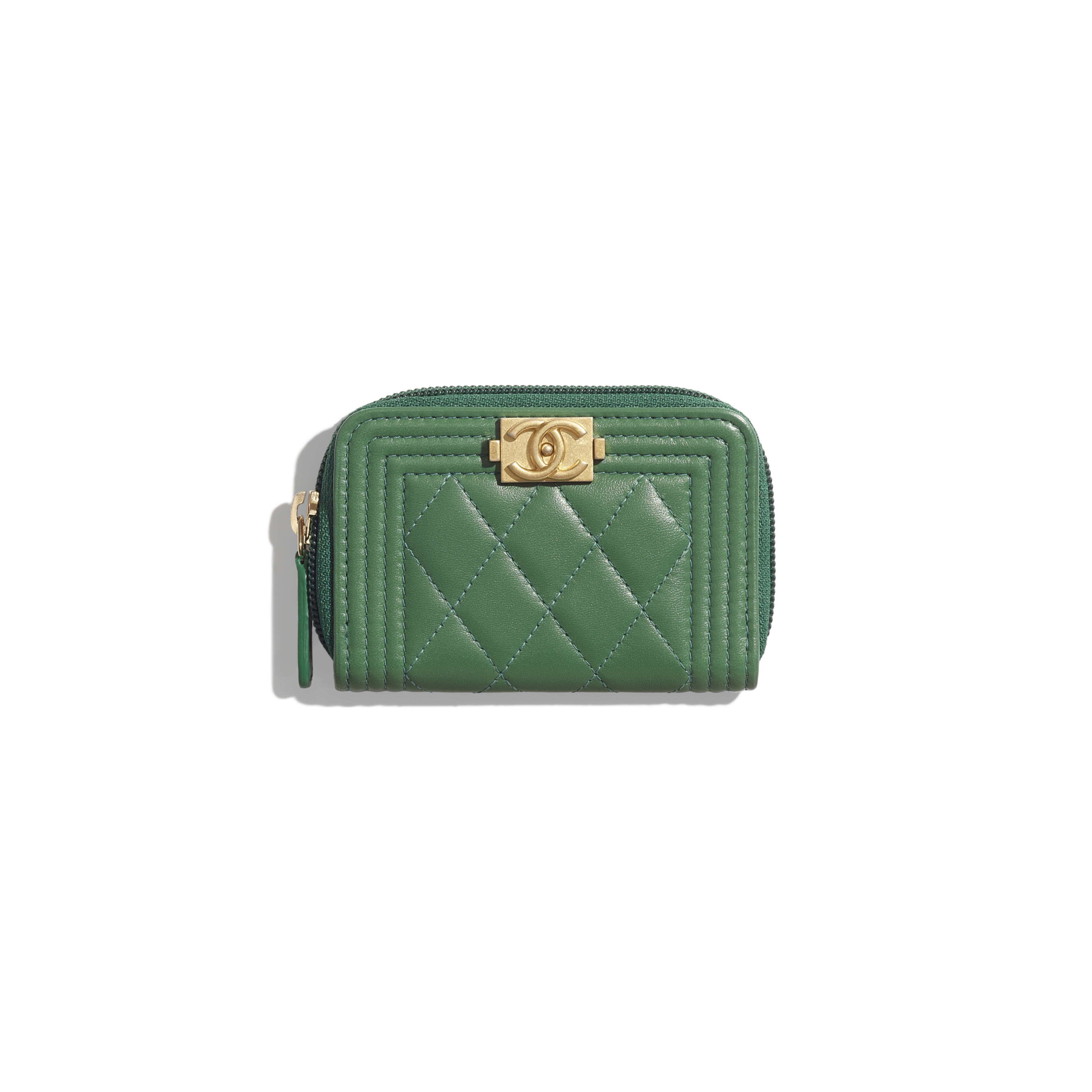 BOY CHANEL Zipped Coin Purse - Green - Lambskin - Default view - see full sized version