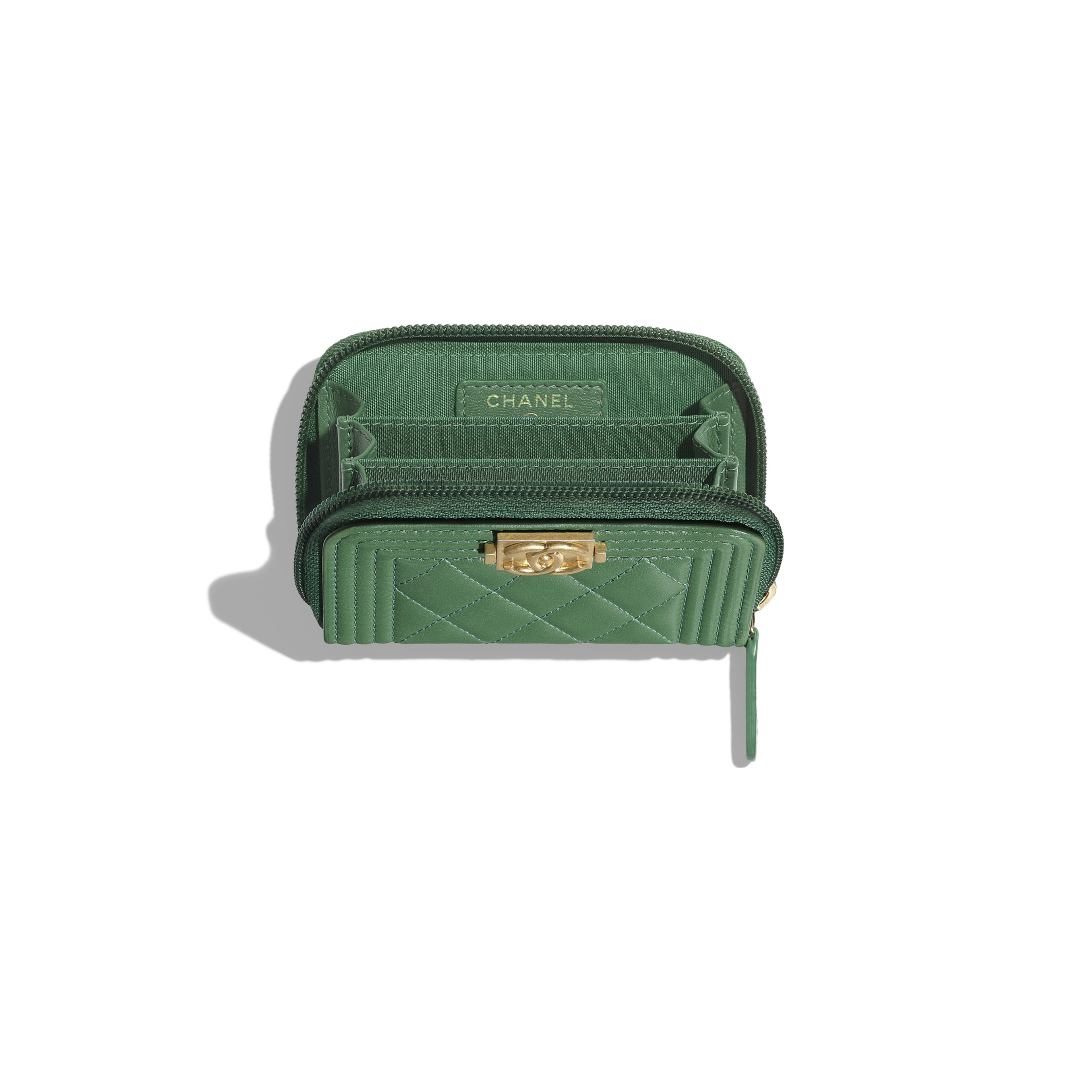 BOY CHANEL Zipped Coin Purse - Green - Lambskin - Other view - see full sized version