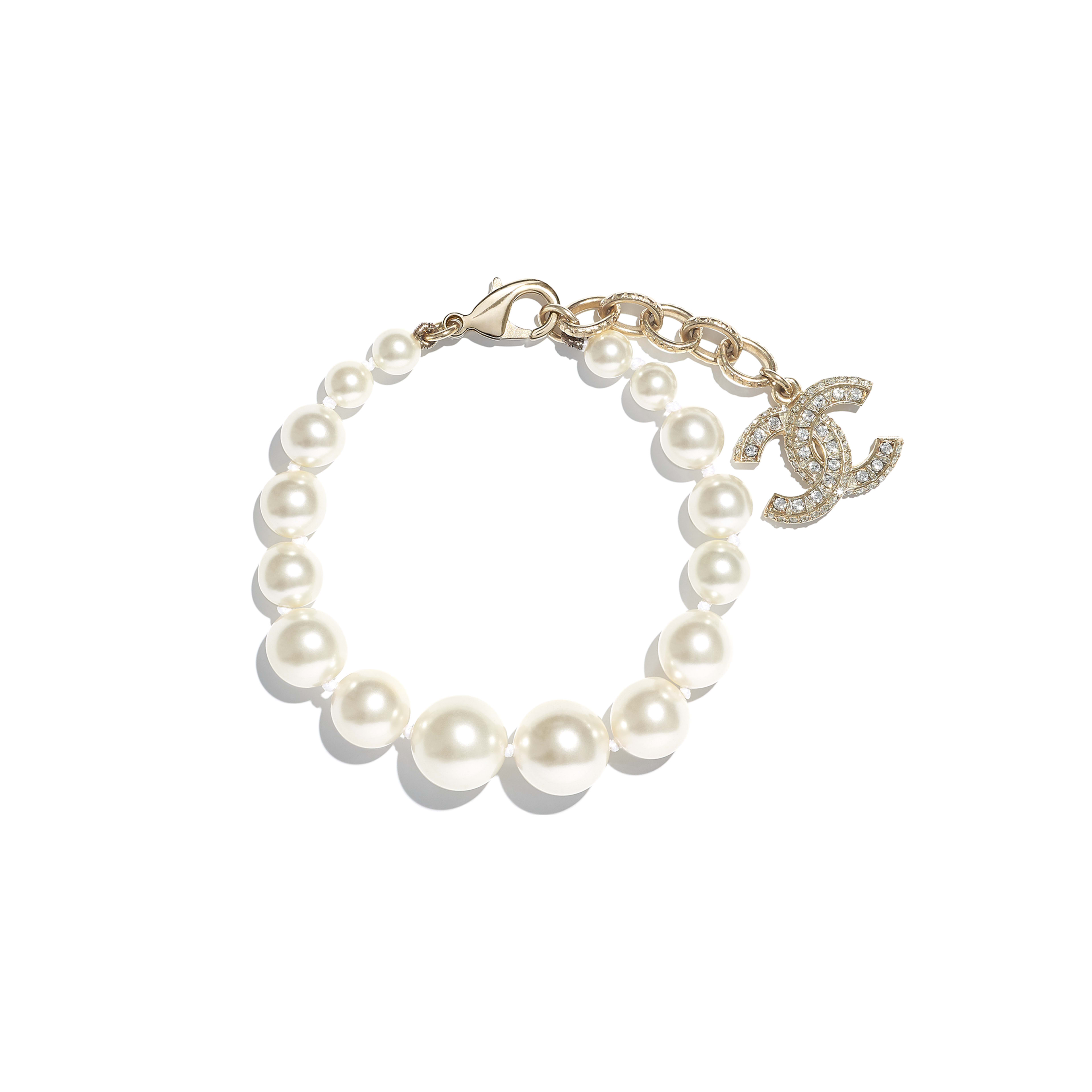 Bracelet - Gold, Pearly White & Crystal - Metal, Glass Pearls, Resin & Strass - Default view - see full sized version