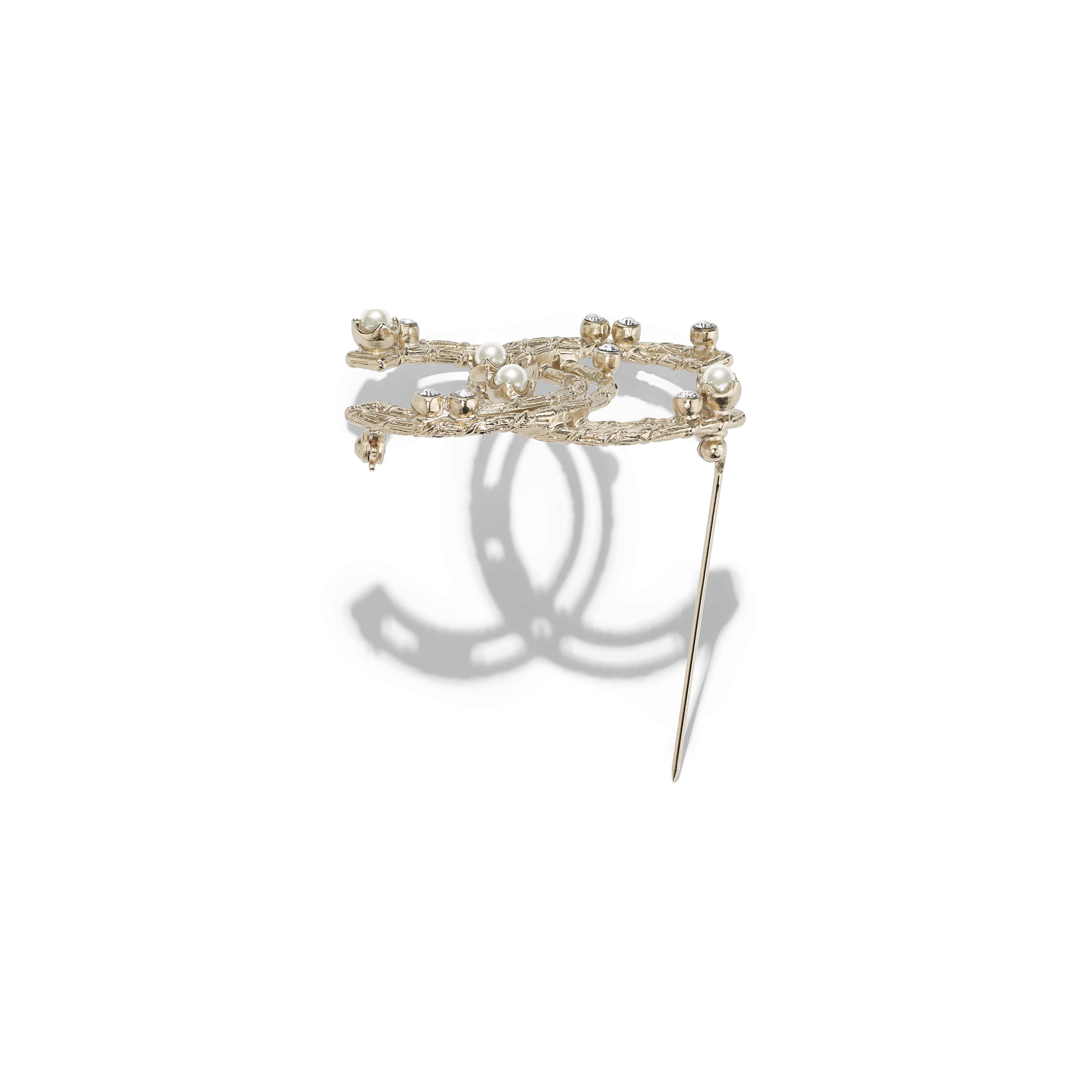 Brooch - Gold, Pearly White & Crystal - Metal, Glass Pearls & Strass - Alternative view - see full sized version