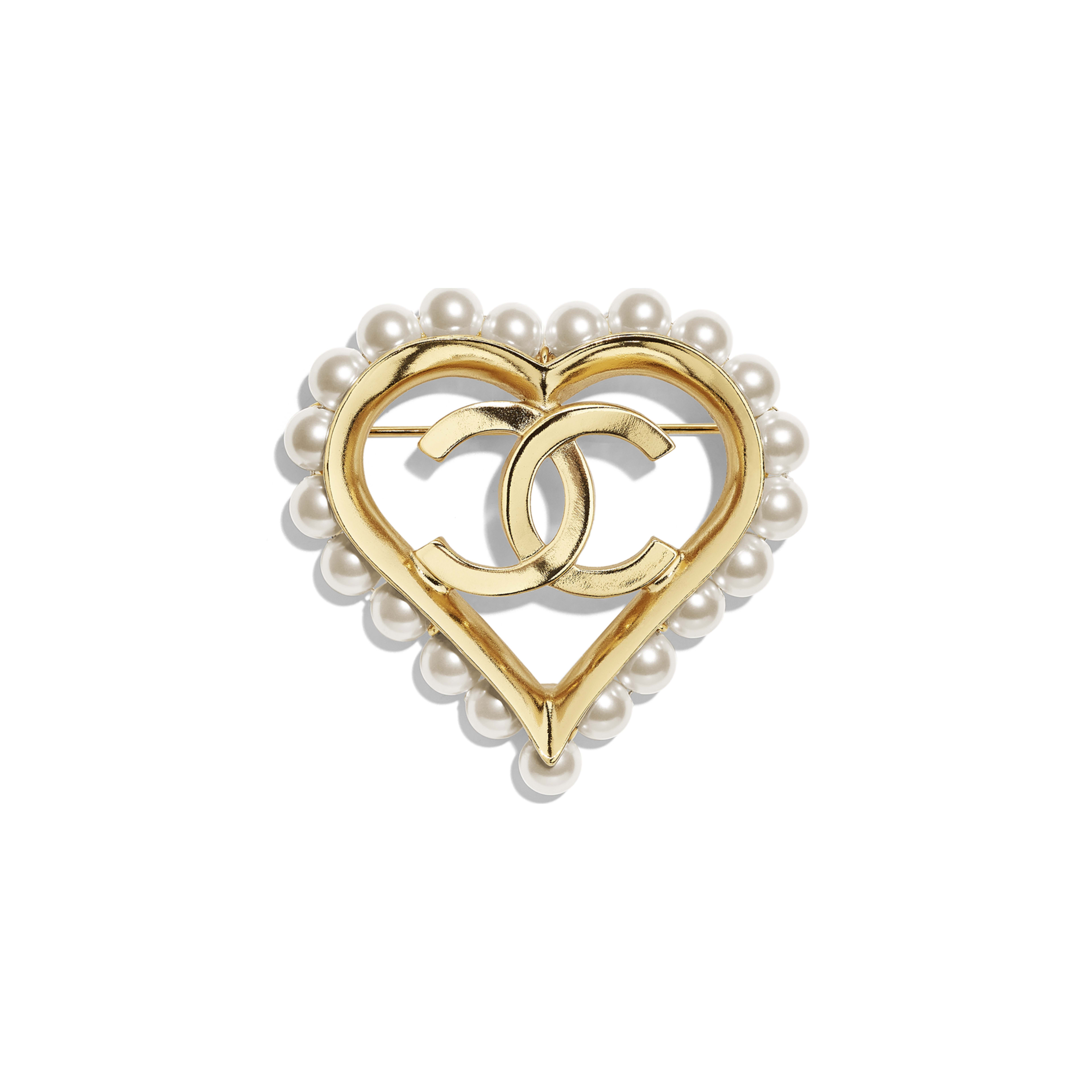 Brooch - Gold & Pearly White - Metal & Glass Pearls - Default view - see full sized version