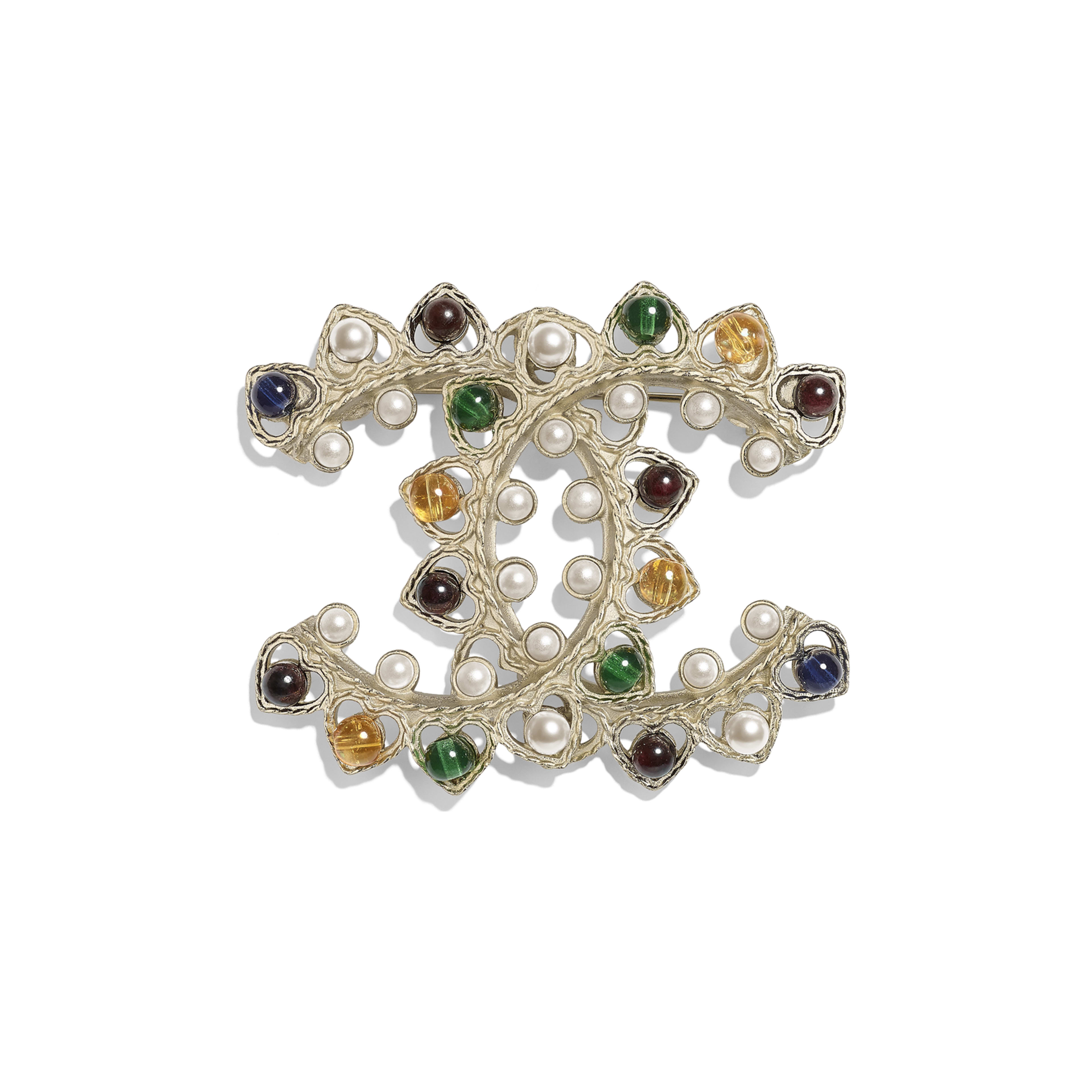 Brooch - Gold, Pearly White & Multicolor - Metal, Natural Stones & Glass Pearls - Default view - see full sized version