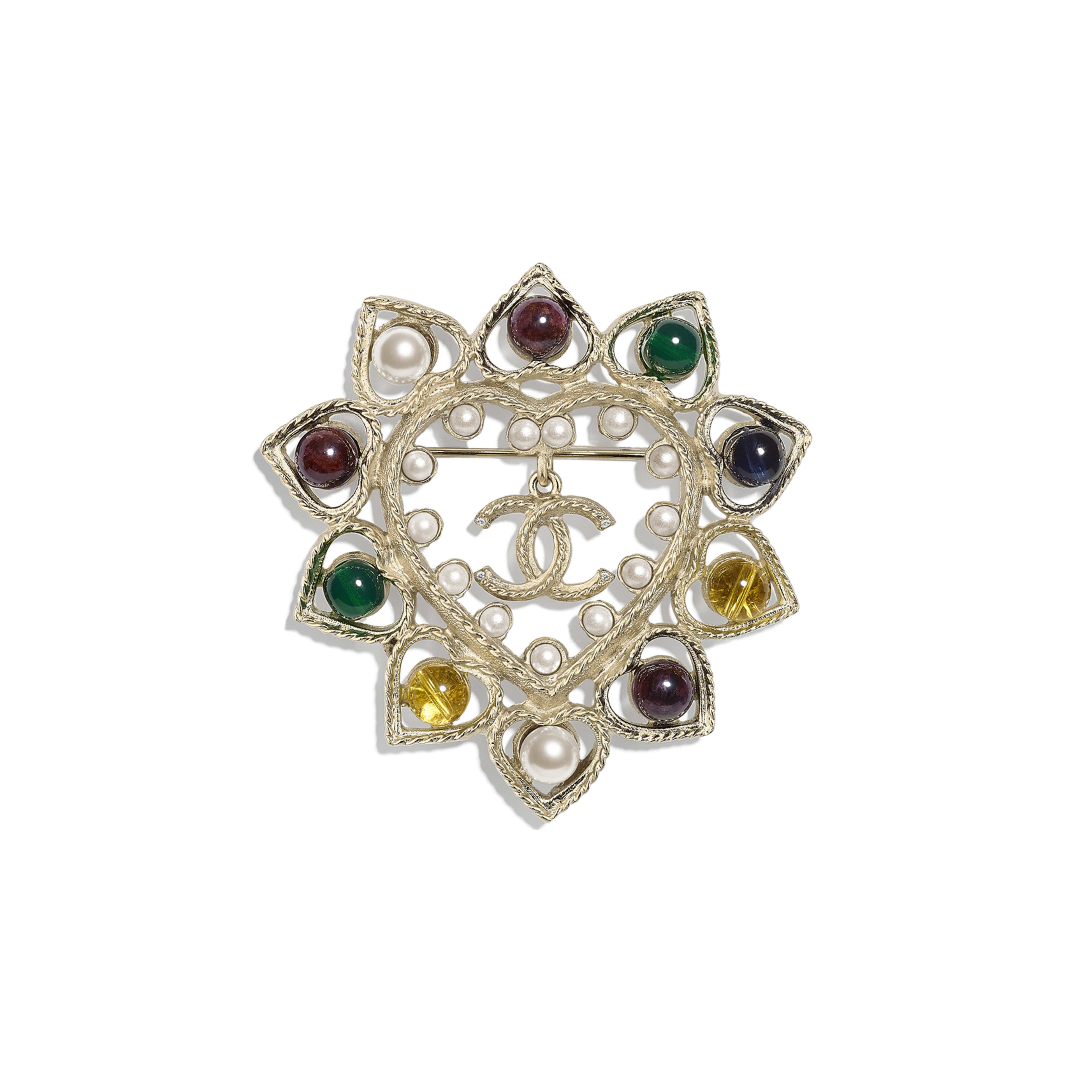 Brooch - Gold, Pearly White & Multicolor - Metal, Natural Stones, Glass Pearls & Strass - Default view - see full sized version
