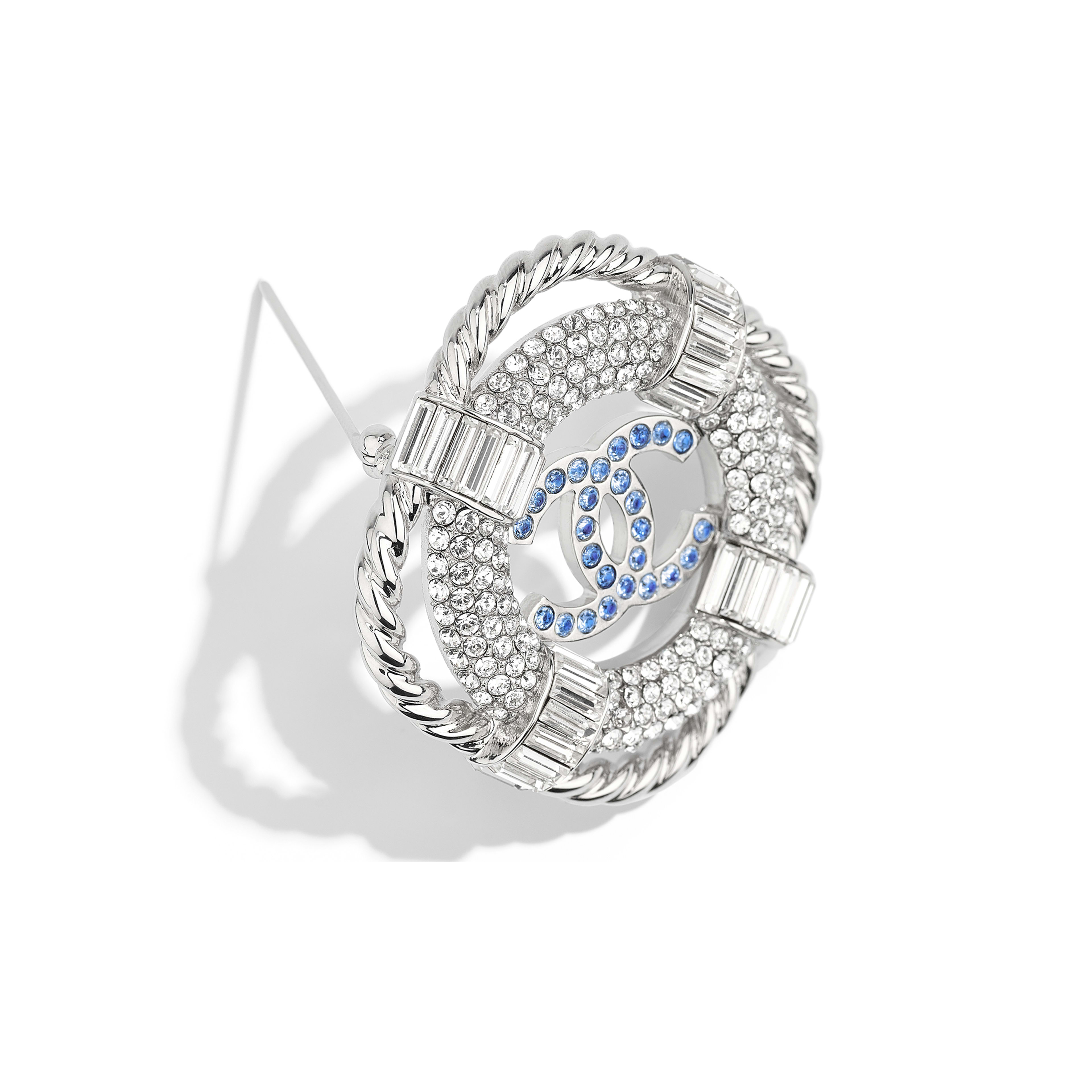 Brooch - Silver, Crystal & Blue - Metal & Strass - Alternative view - see full sized version