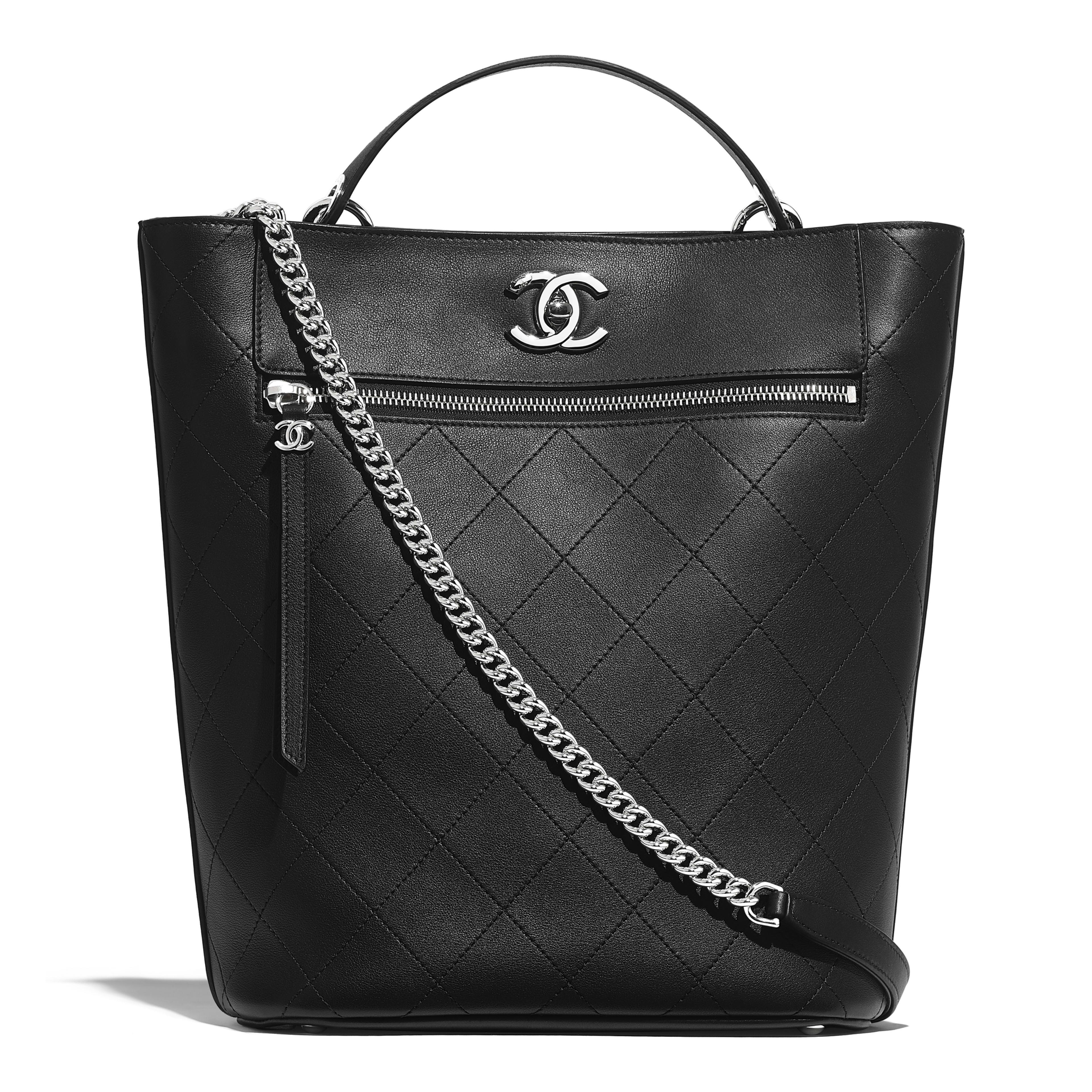 e600d5a1b2ce Bucket Bag - Black - Calfskin   Silver-Tone Metal - Default view - see ...