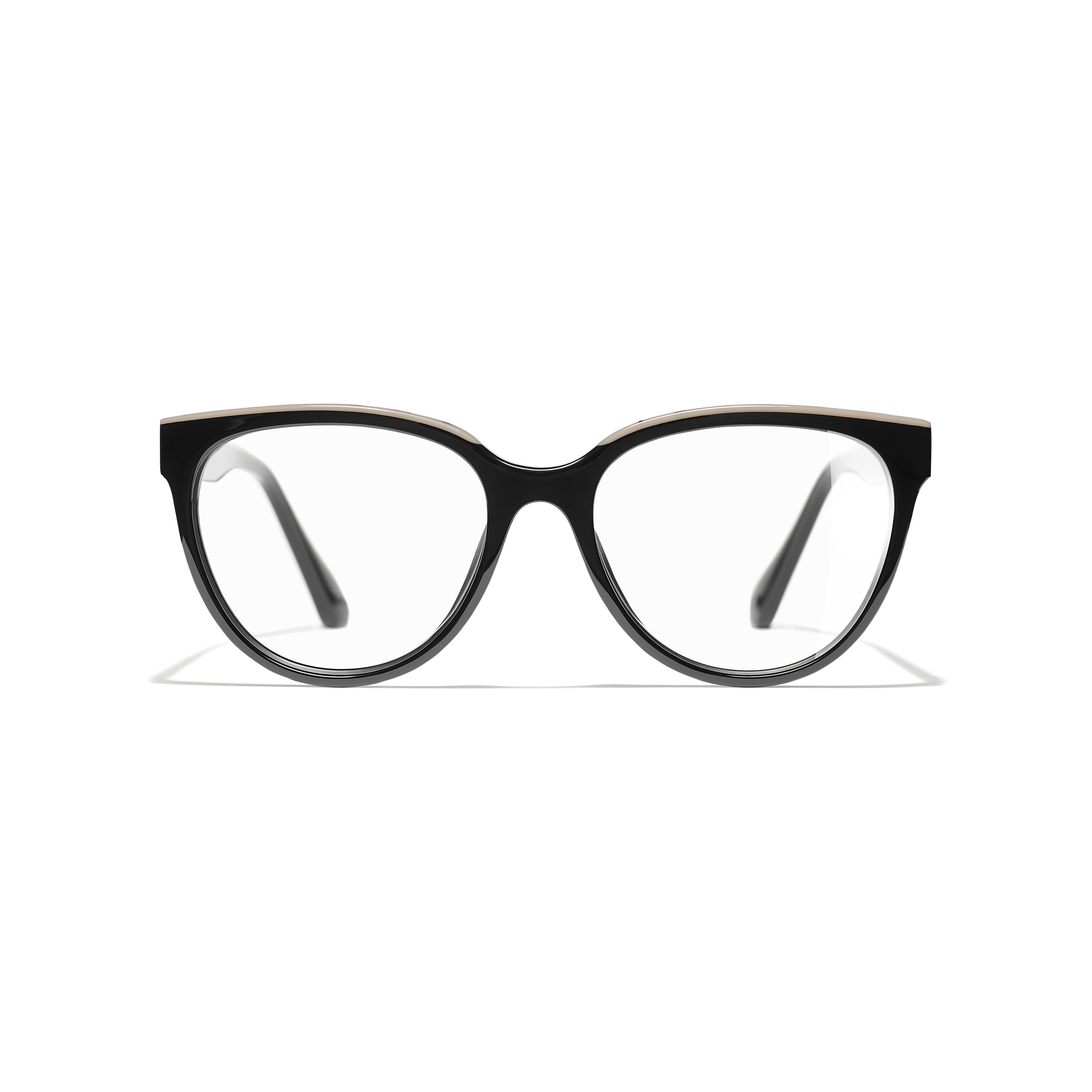 Butterfly Eyeglasses - Black & Beige - Acetate - Alternative view - see full sized version
