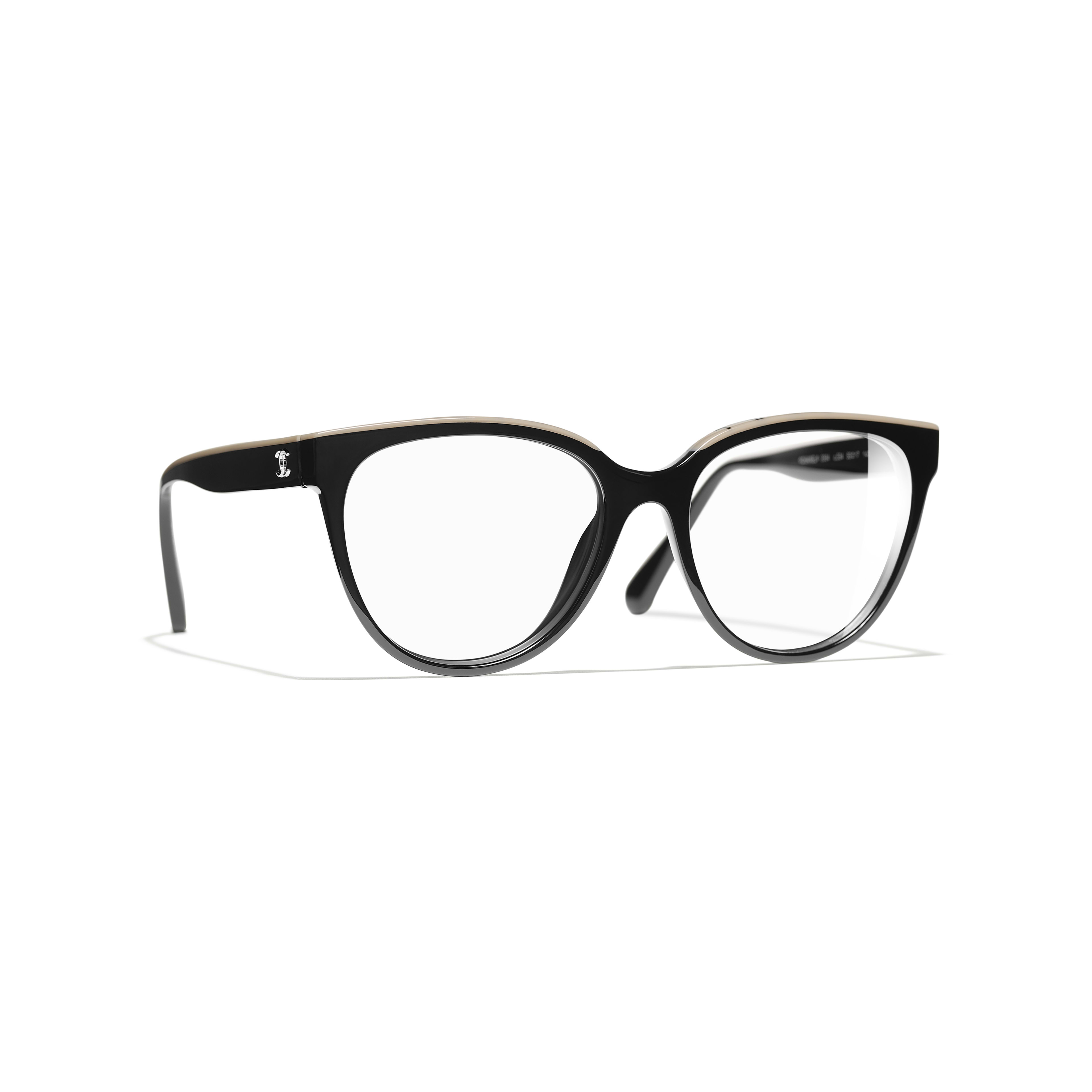 Butterfly Eyeglasses - Black & Beige - Acetate - Default view - see full sized version