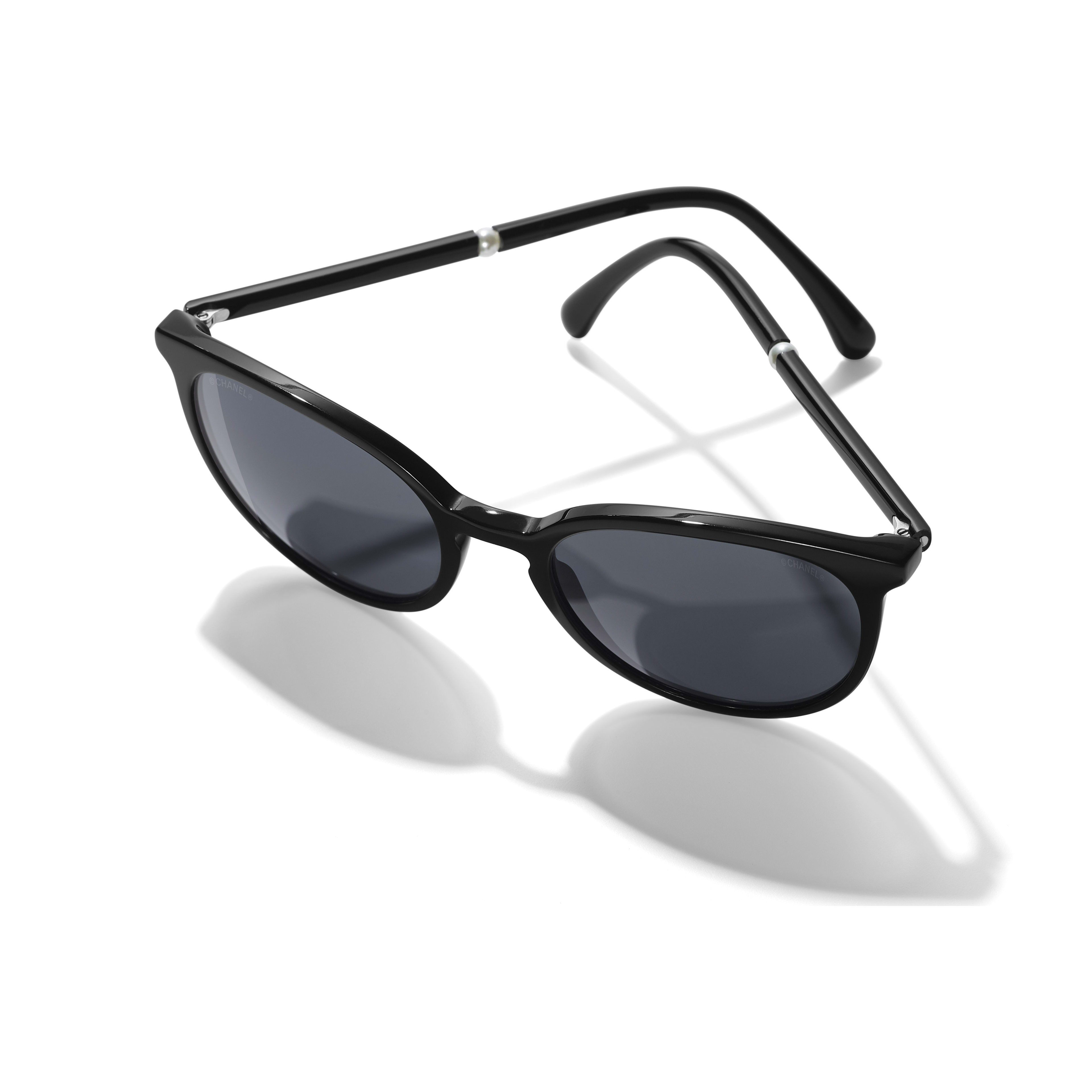 Butterfly Sunglasses - Black - Acetate & Imitation Pearls - Extra view - see full sized version