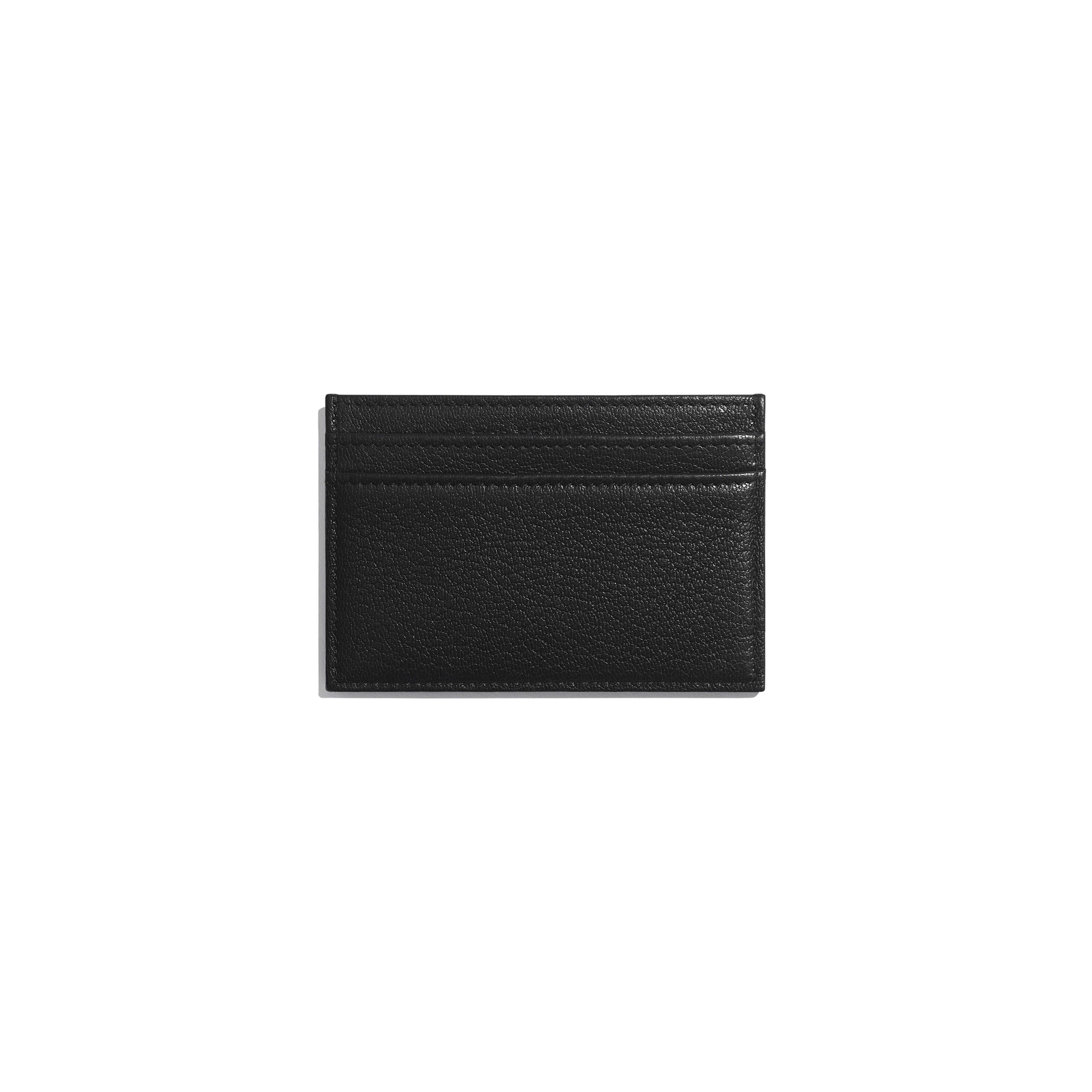 กระเป๋านามบัตร - สีดำ - หนังแพะและโลหะสีเงินเคลือบเงา - มุมมองทางอื่น - ดูเวอร์ชันขนาดเต็ม
