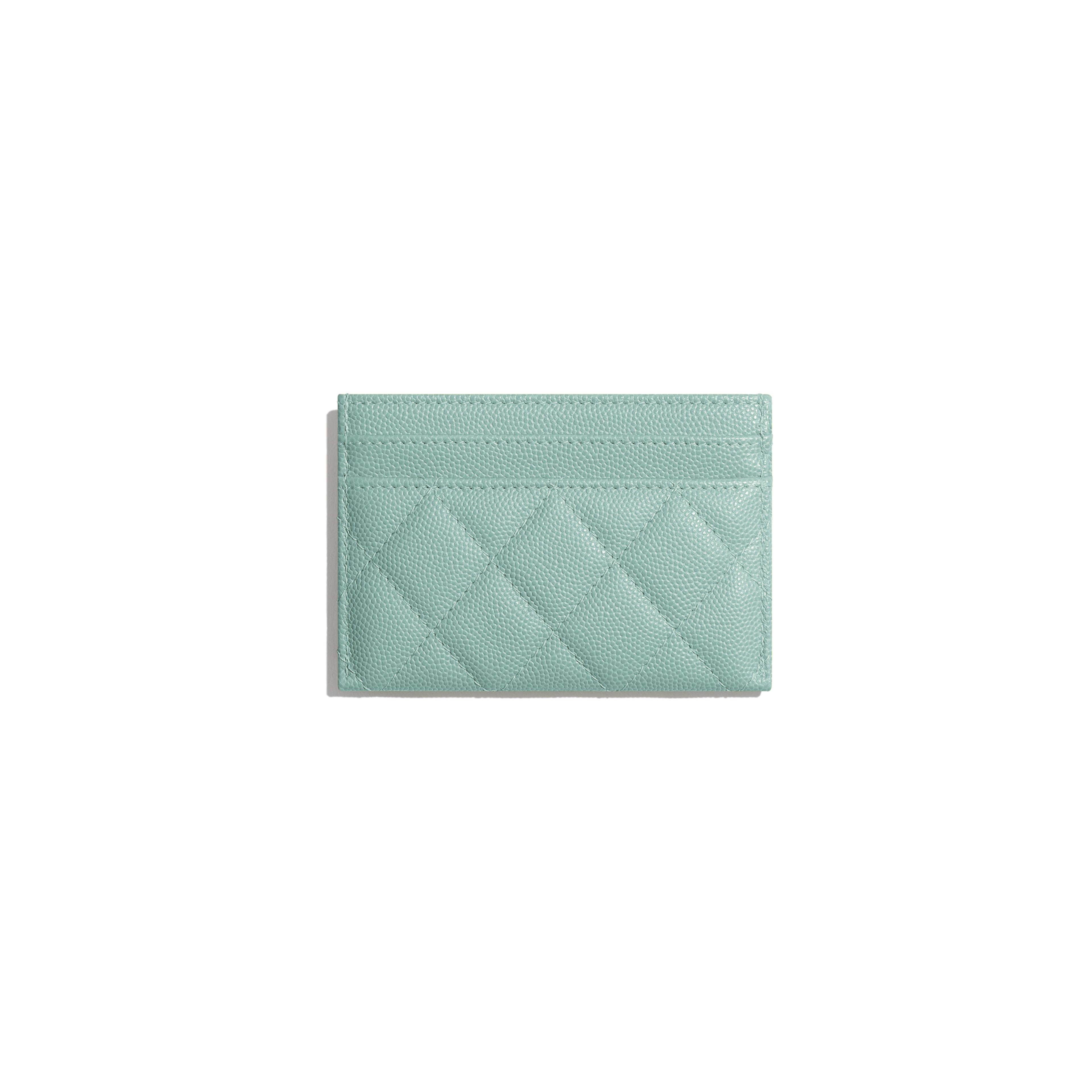 กระเป๋านามบัตร - สีฟ้า - หนังลูกวัวลายเกรน, โลหะสีทอง - มุมมองทางอื่น - ดูเวอร์ชันขนาดเต็ม