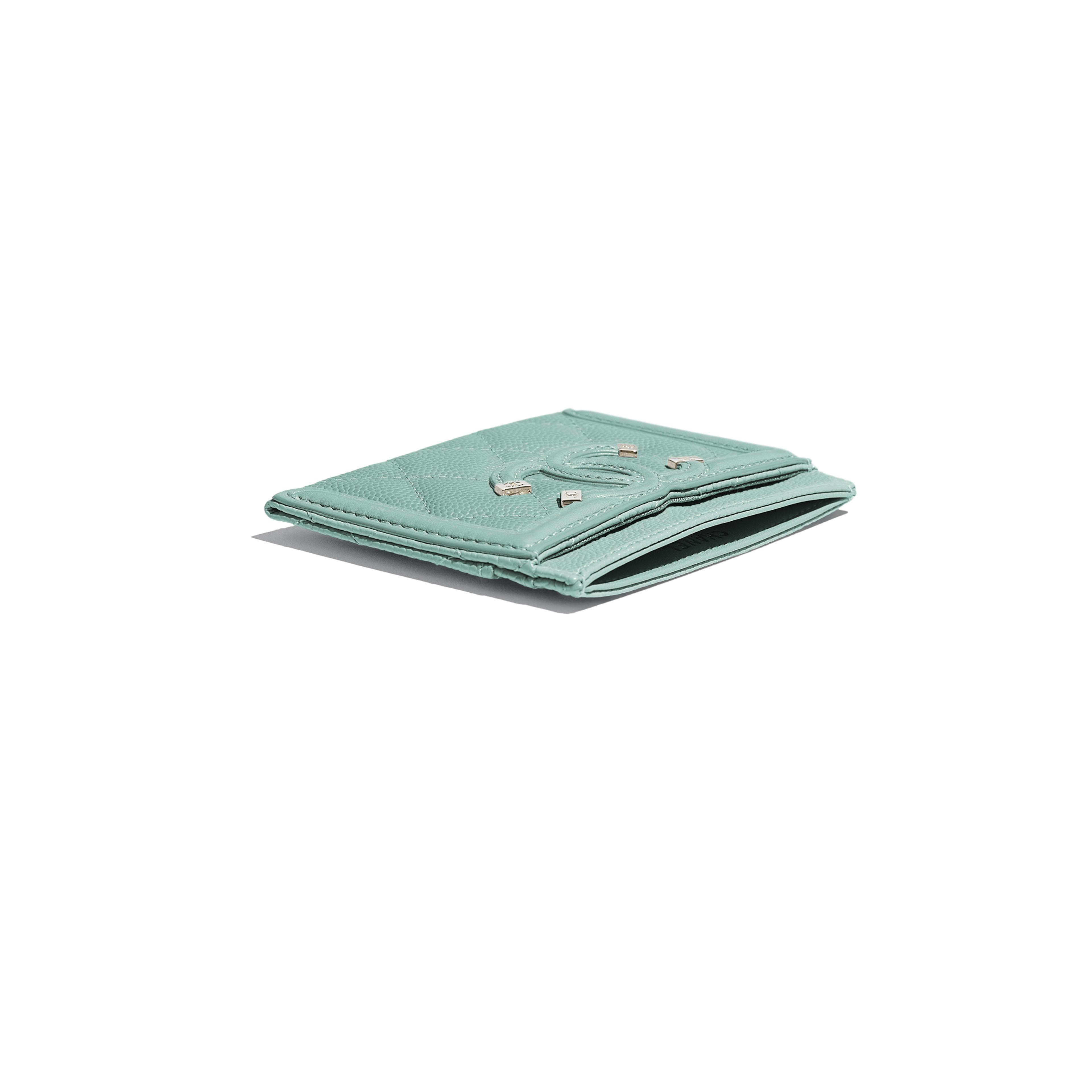 กระเป๋านามบัตร - สีฟ้า - หนังลูกวัวลายเกรน, โลหะสีทอง - มุมมองพิเศษ - ดูเวอร์ชันขนาดเต็ม