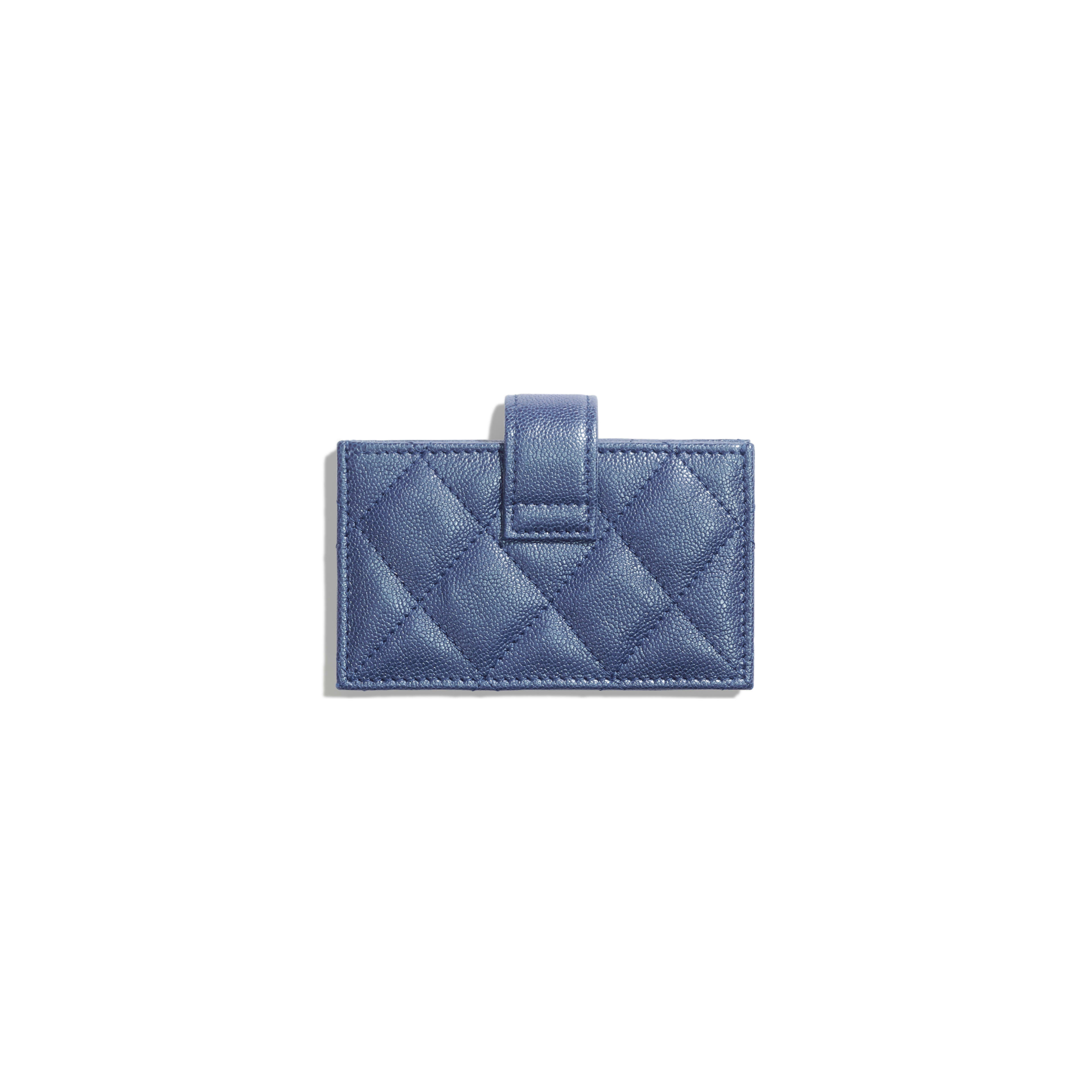 Card Holder - Dark Blue - Iridescent Grained Calfskin & Gold-Tone Metal - Alternative view - see full sized version