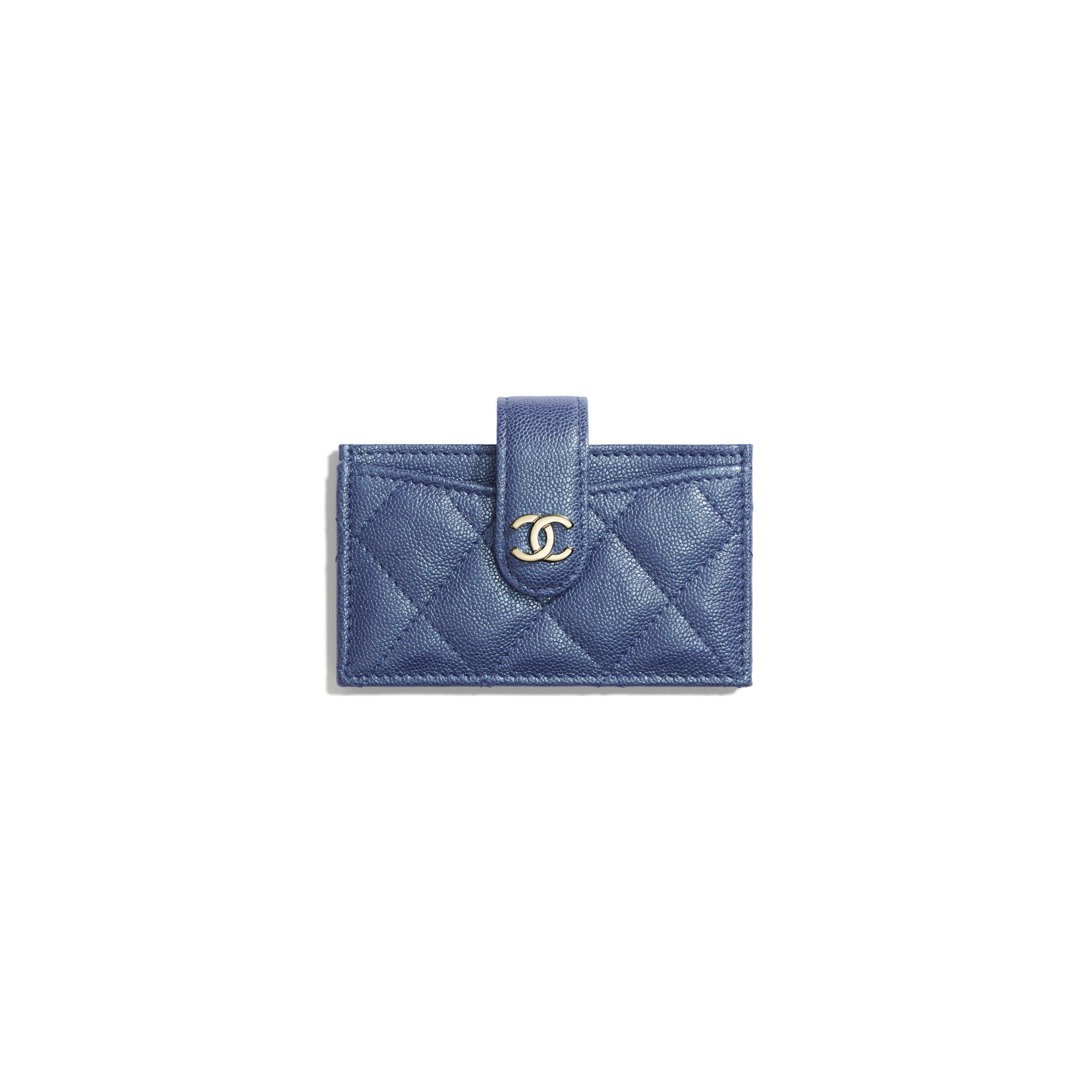 Card Holder - Dark Blue - Iridescent Grained Calfskin & Gold-Tone Metal - Default view - see full sized version