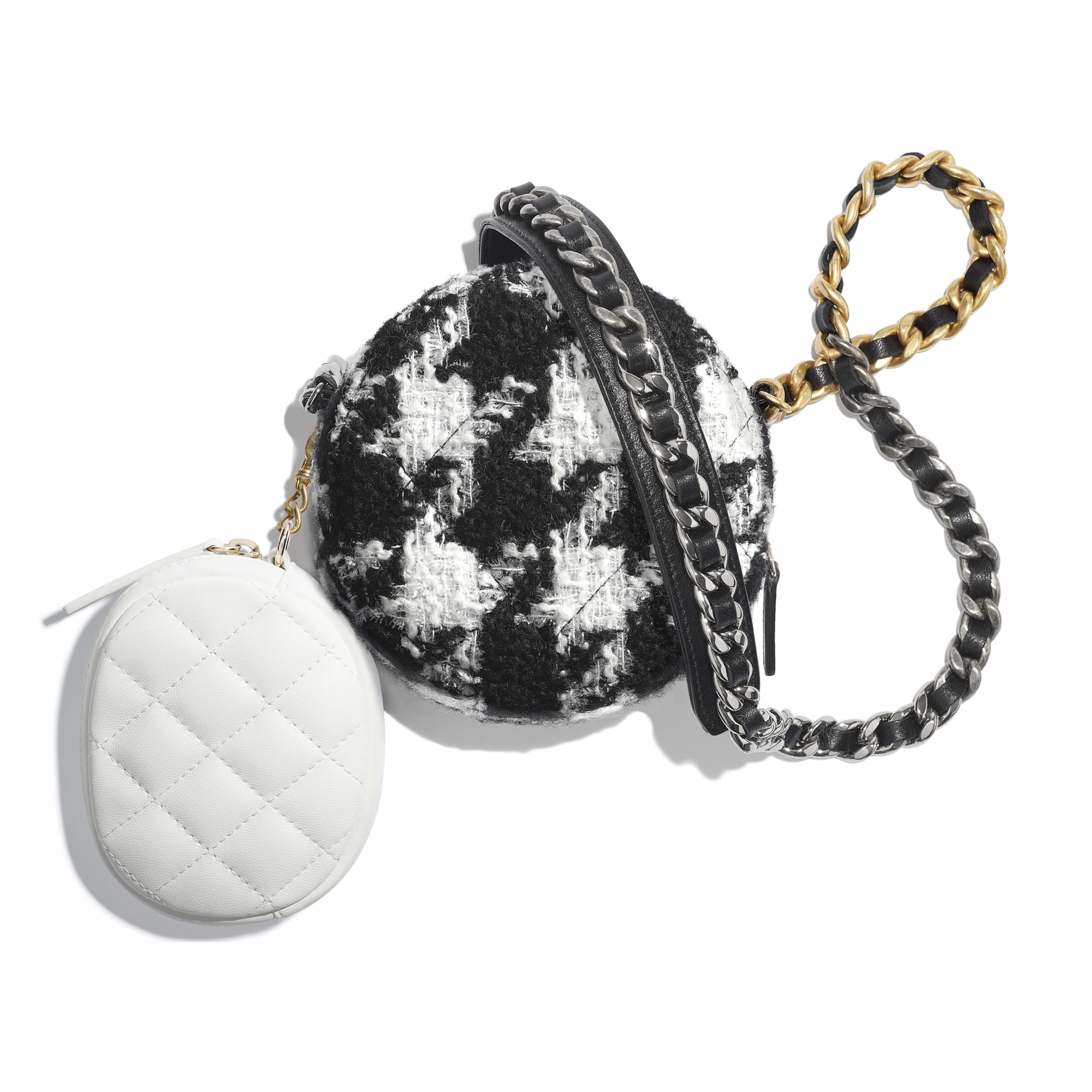 CHANEL 19 Clutch with Chain & Coin Purse - Black & White - Wool Tweed, Lambskin, Gold-Tone, Silver-Tone & Ruthenium-Finish Metal - Alternative view - see full sized version