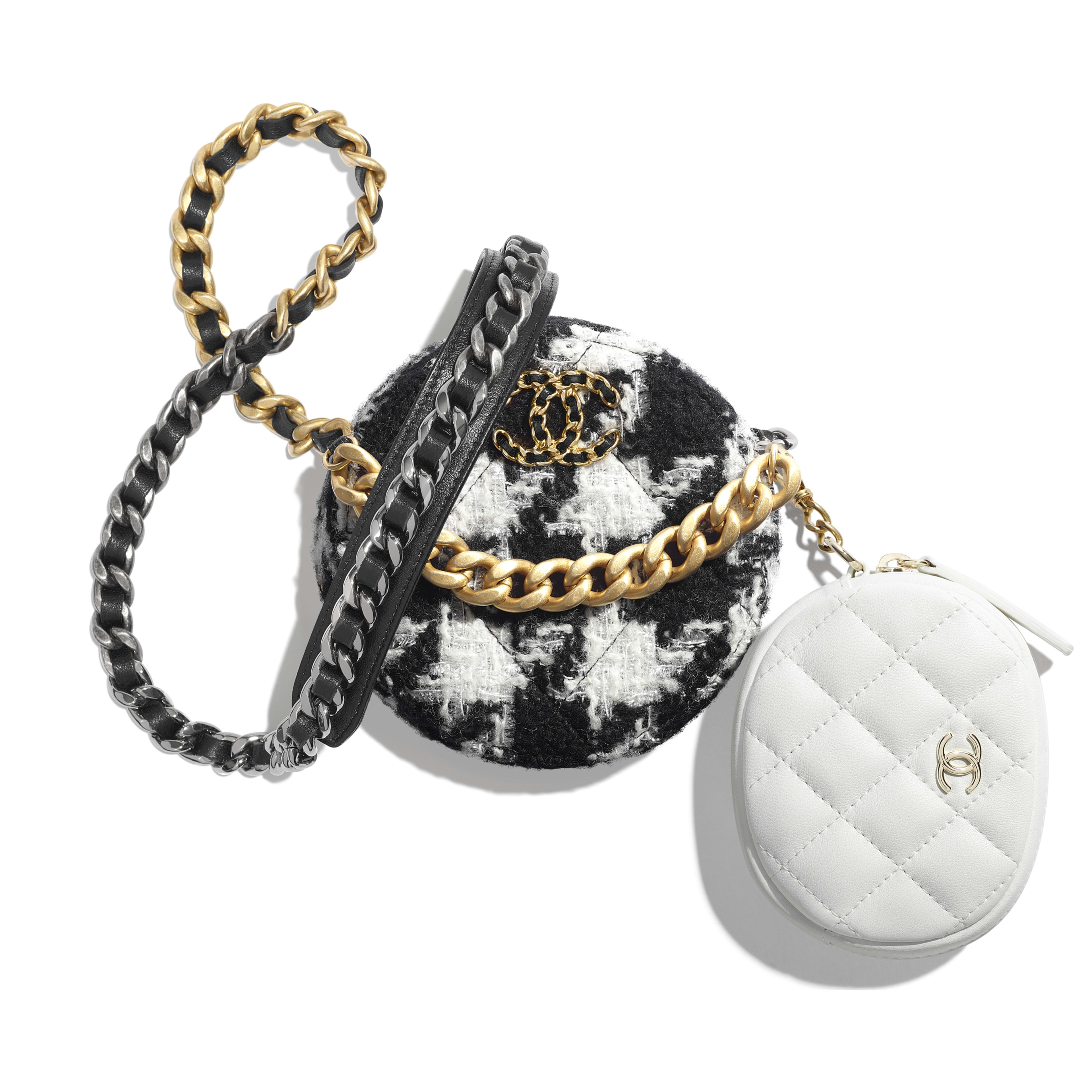 CHANEL 19 Clutch with Chain & Coin Purse - Black & White - Wool Tweed, Lambskin, Gold-Tone, Silver-Tone & Ruthenium-Finish Metal - Default view - see full sized version