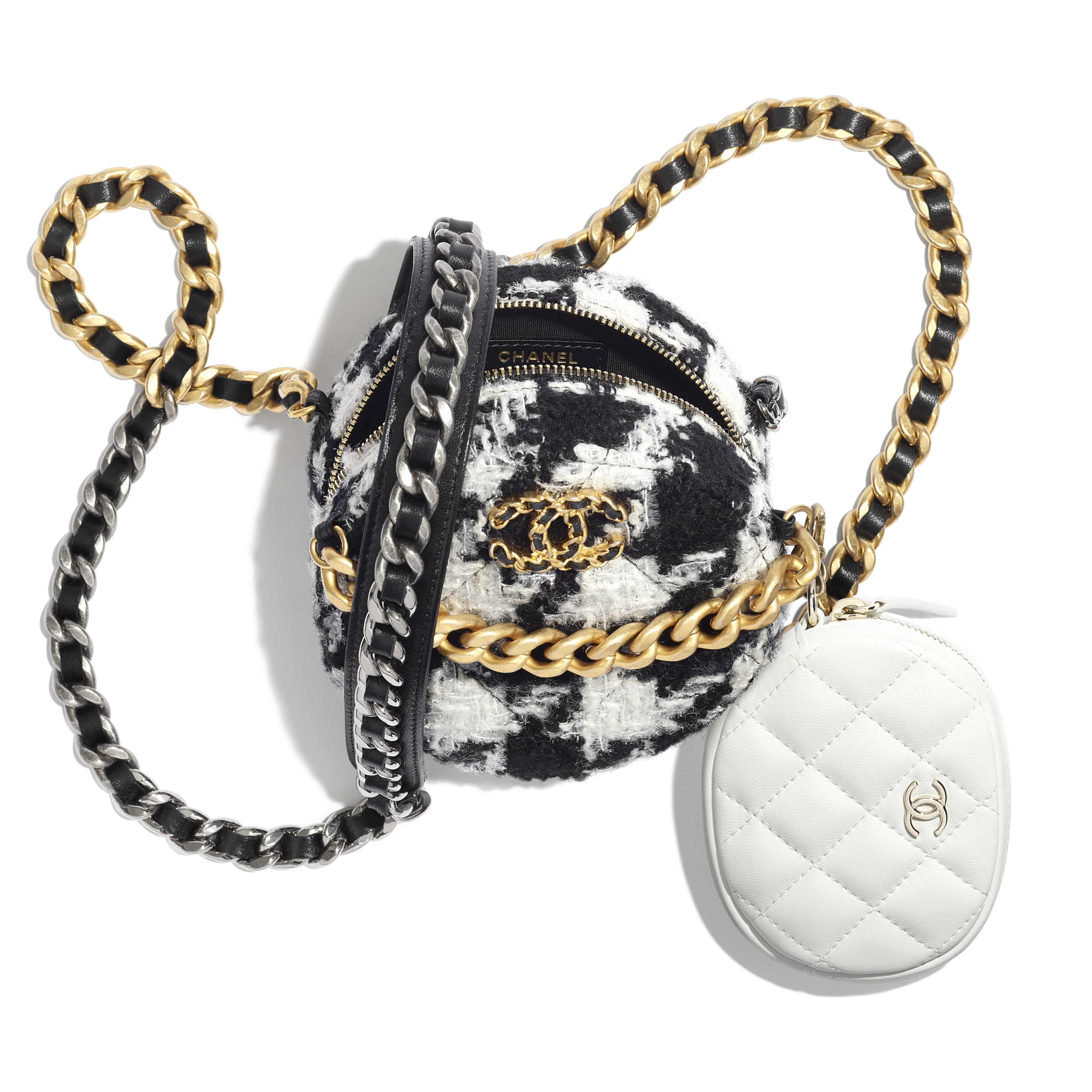 CHANEL 19 Clutch with Chain & Coin Purse - Black & White - Wool Tweed, Lambskin, Gold-Tone, Silver-Tone & Ruthenium-Finish Metal - Other view - see full sized version