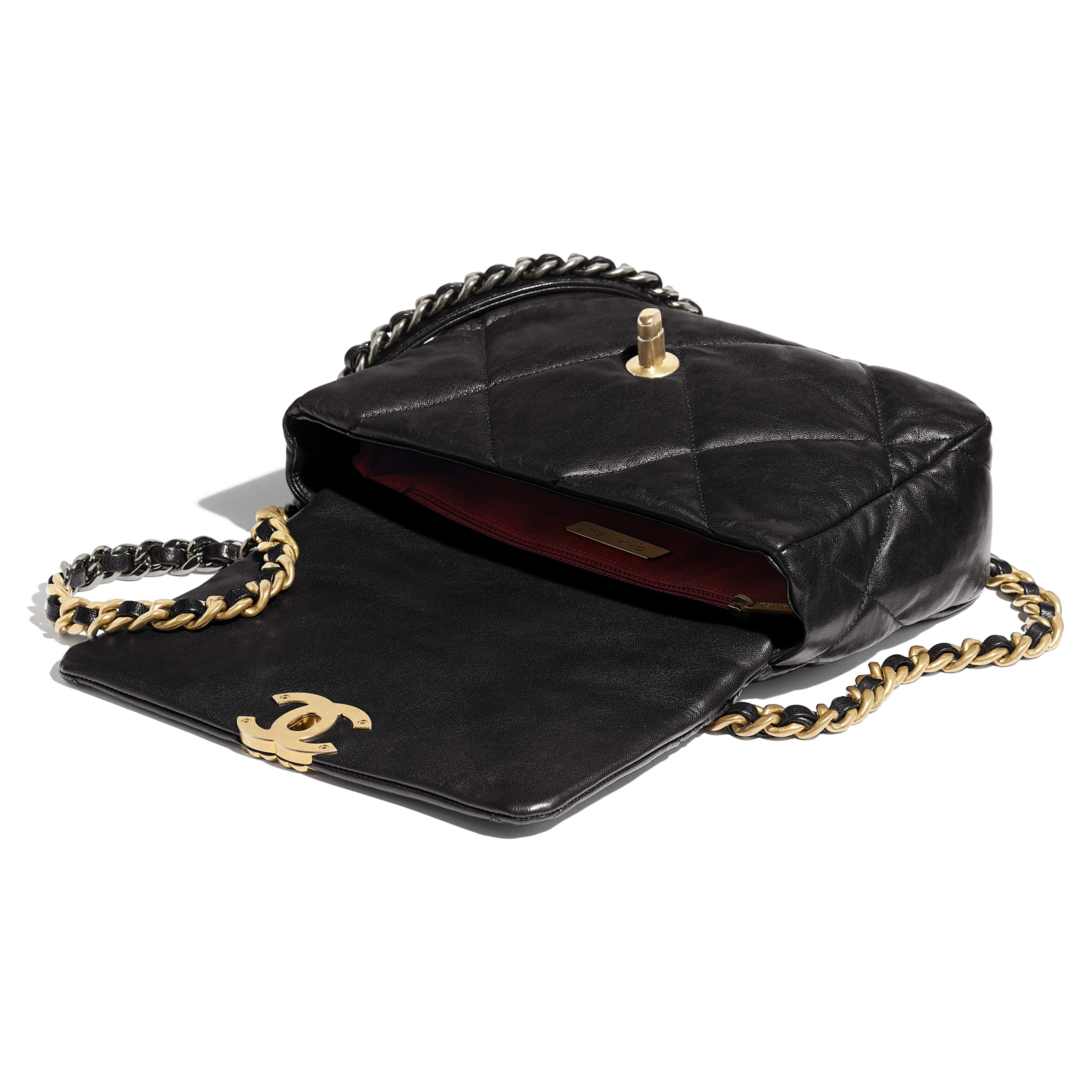 CHANEL 19 Flap Bag - Black - Lambskin, Gold-Tone, Silver-Tone & Ruthenium-Finish Metal - Other view - see full sized version
