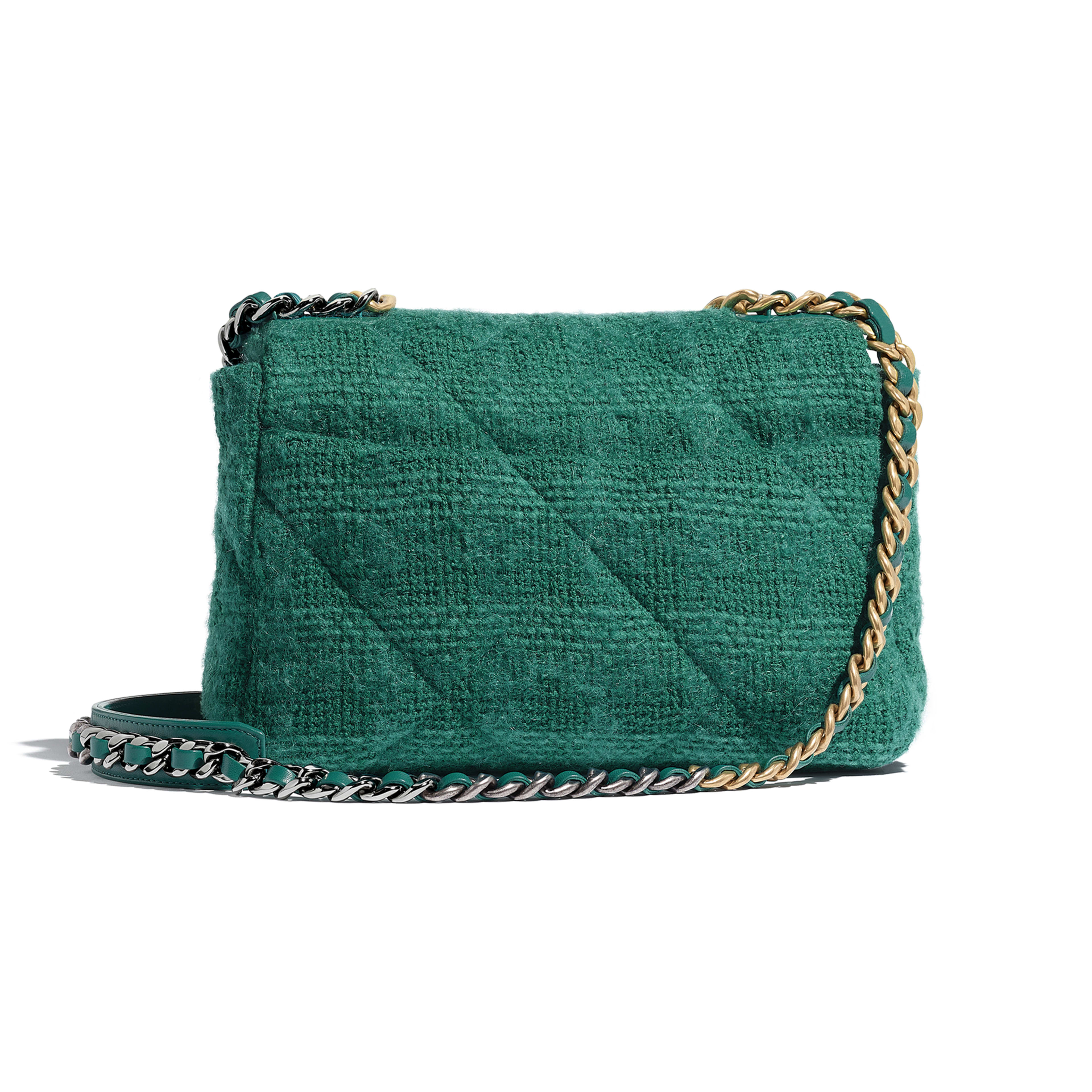 CHANEL 19 Flap Bag - Green - Wool Tweed, Gold-Tone, Silver-Tone & Ruthenium-Finish Metal - Alternative view - see full sized version